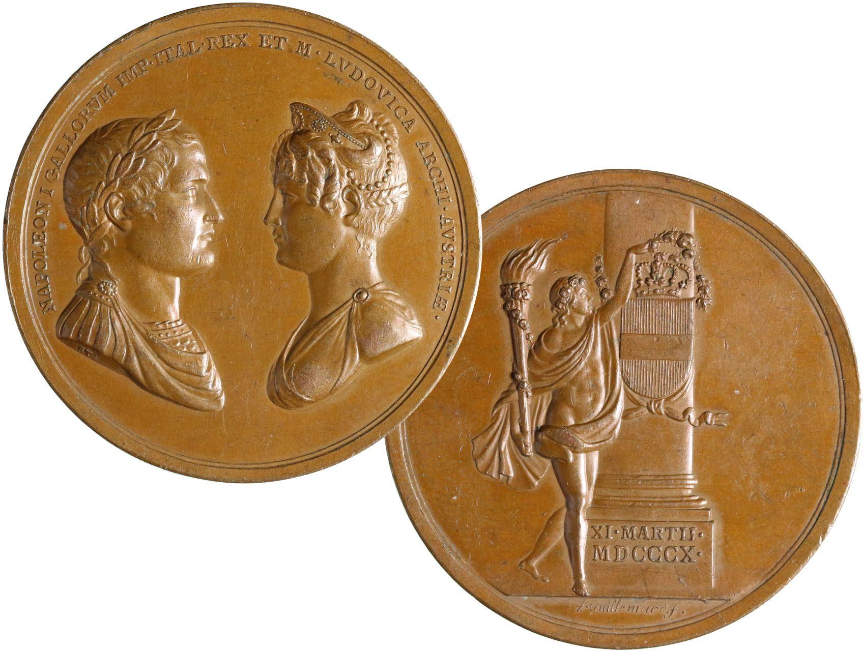 Osobnosti - Francie, Napoleon I. 1804-1815, AE medaile 11.3.1810 na svatbu Napoleona s Marií Luisou