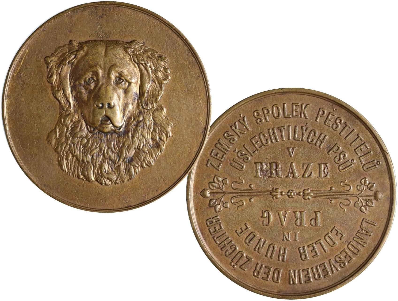 Spolkové - AE medaile b.l., Zemský spolek pěstitelů ušlechtilých psů v Praze. Psí hlava čelně / Česko-německý text. Bronz 45 mm