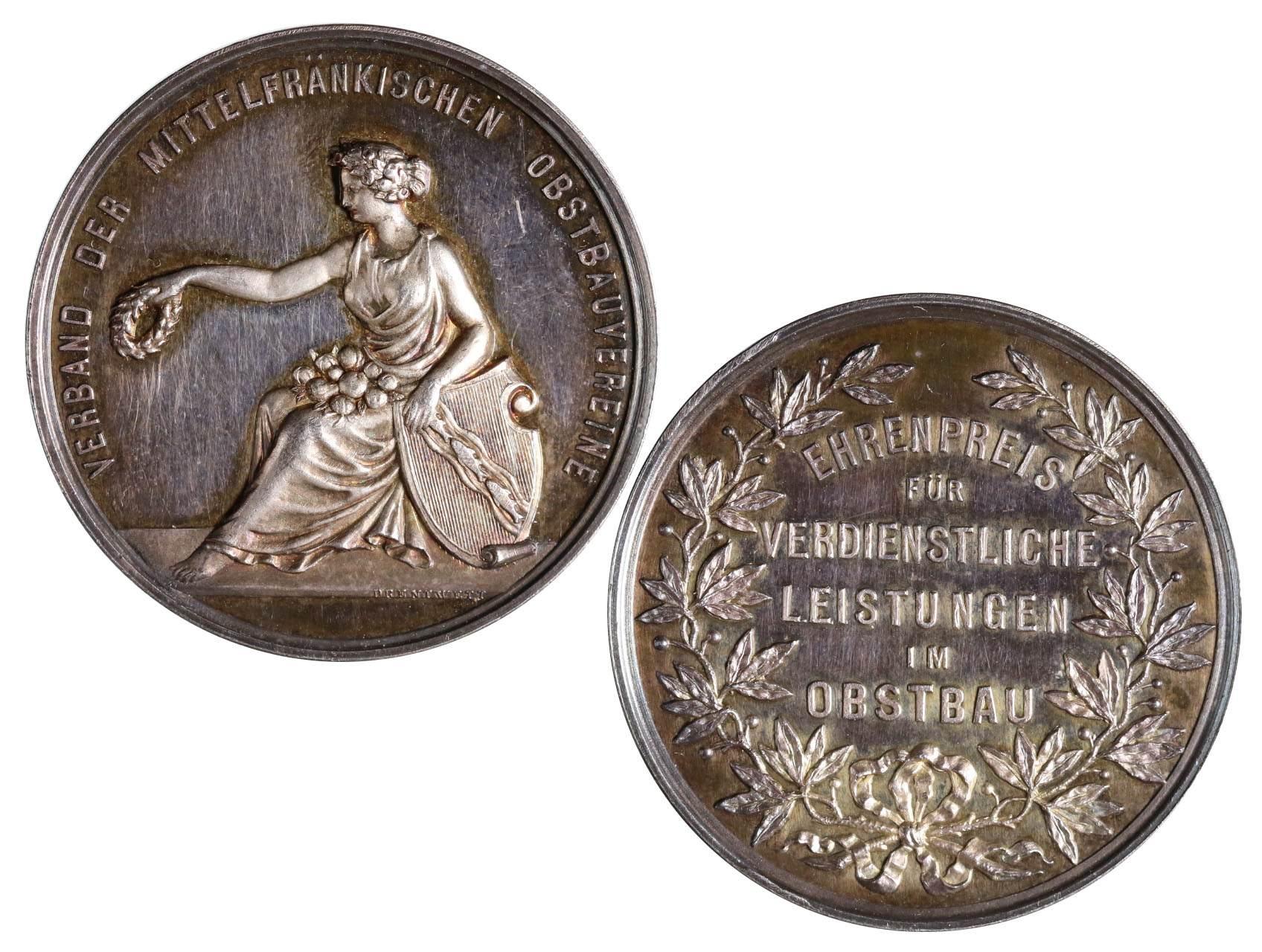 Záslužné - AR medaile, Čestná cena za zásluhy v zahradnictví, Verband der Mittelfränkischen obstbauvereine, Německo 19. stol., Ag, průměr 37mm
