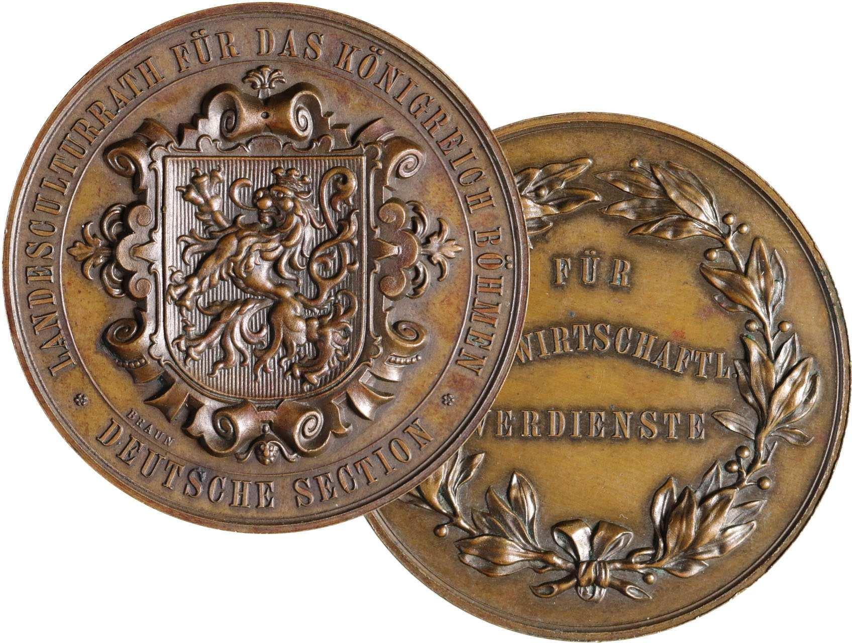 Záslužné - AE medaile b.l., Za zemědělské zásluhy, Státní rady pro království České, Německá sekce. Český lev ve znaku, německý opis / německý text ve vavřínovém věnci. Bronz, 46 mm, značeno BRAUN
