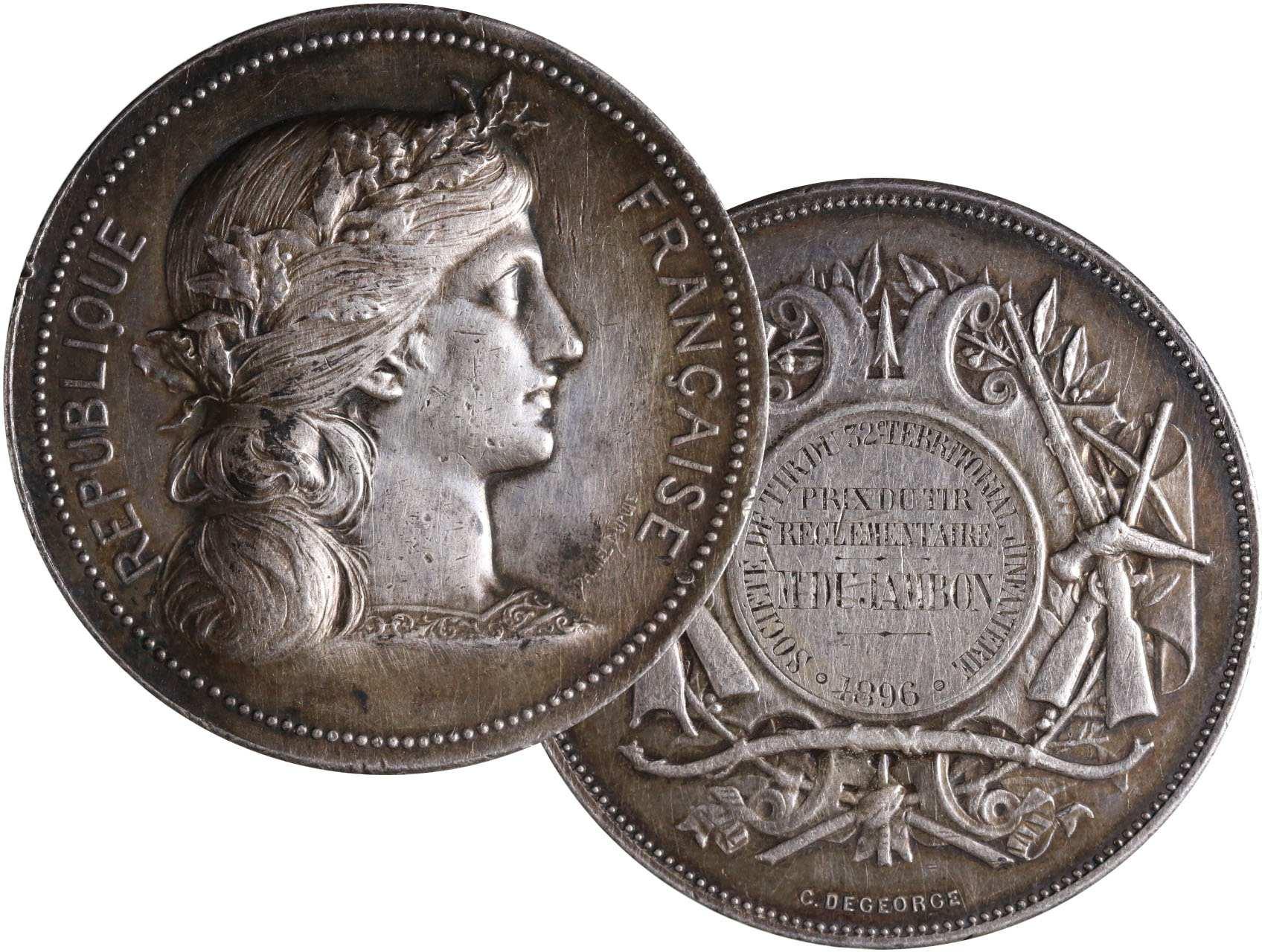 Francie, Ag střelecká medaile 1896, udělení, C. Degeorde