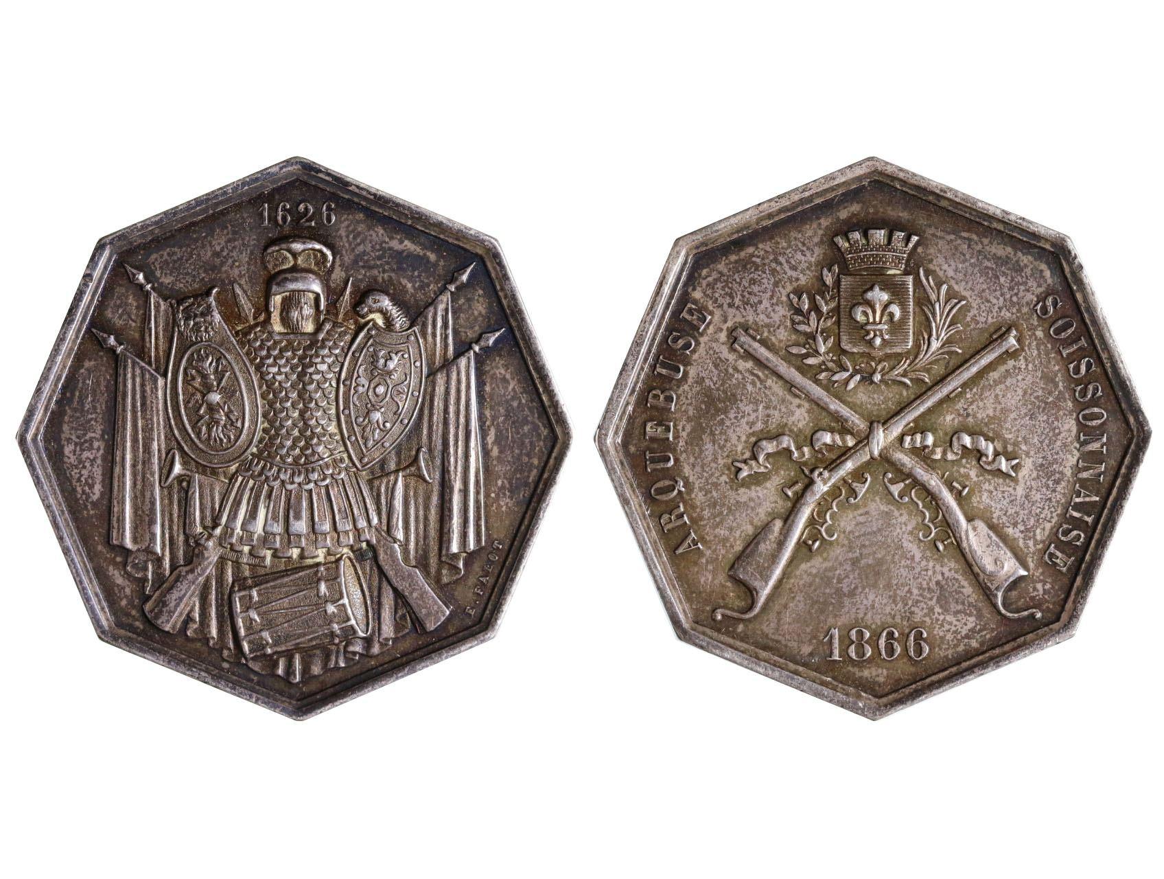 Francie, Ag střelecká osmihranná medaile 1866 arquebuse soissonnaise, E.Falot