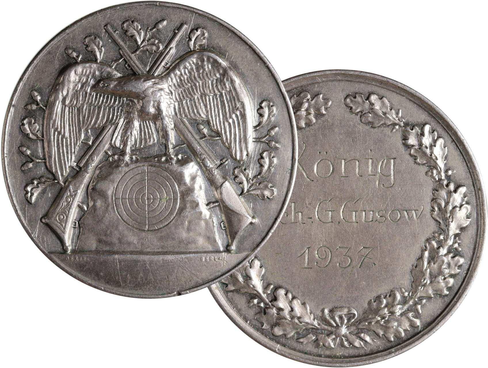 Německo, Ag střelecká medaile střelby Berlín, udělená 1937, Oertel