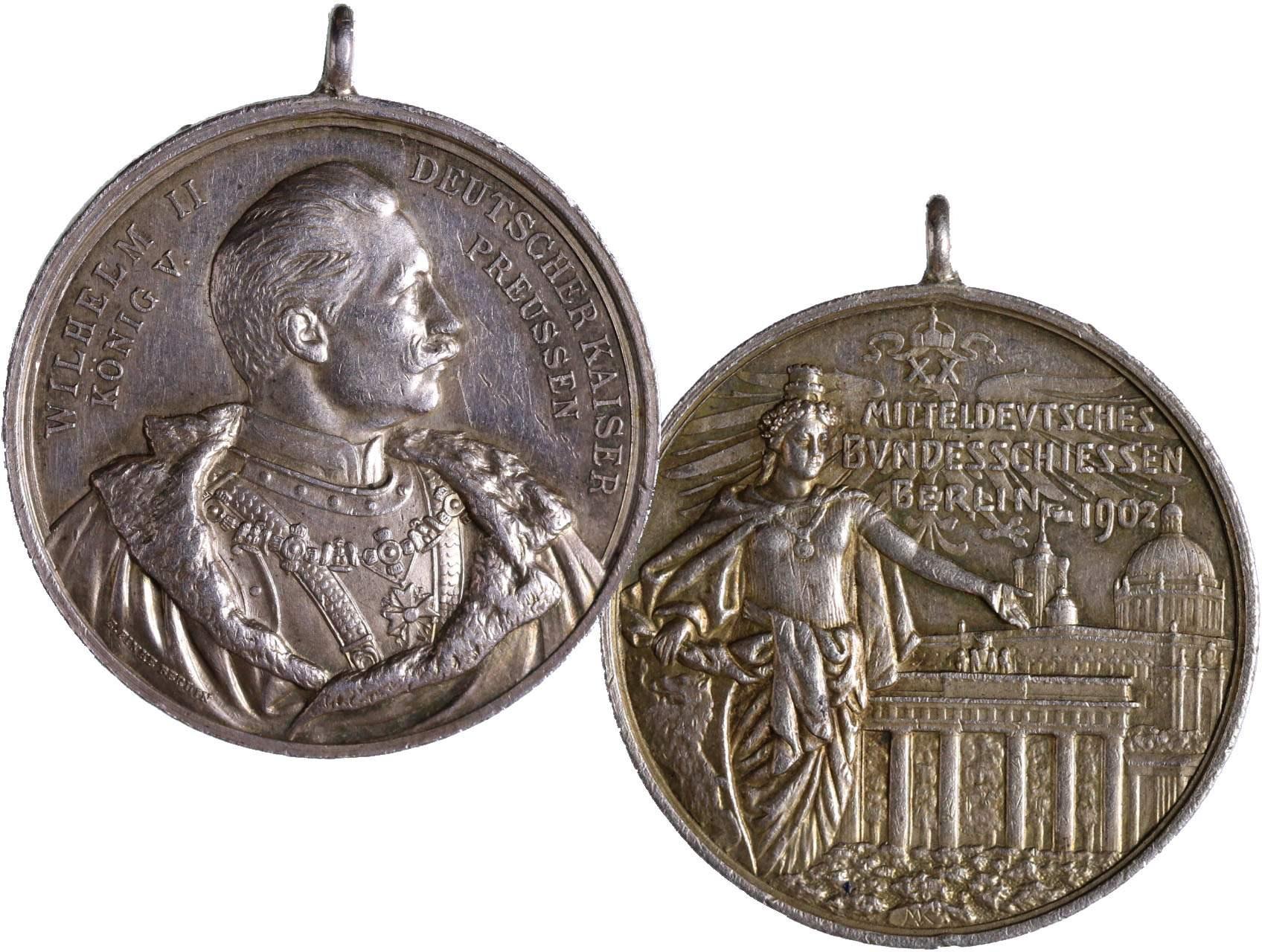 Německo, Ag střelecká medaile1902  XX.spolkové střelby Berlín, původní očko