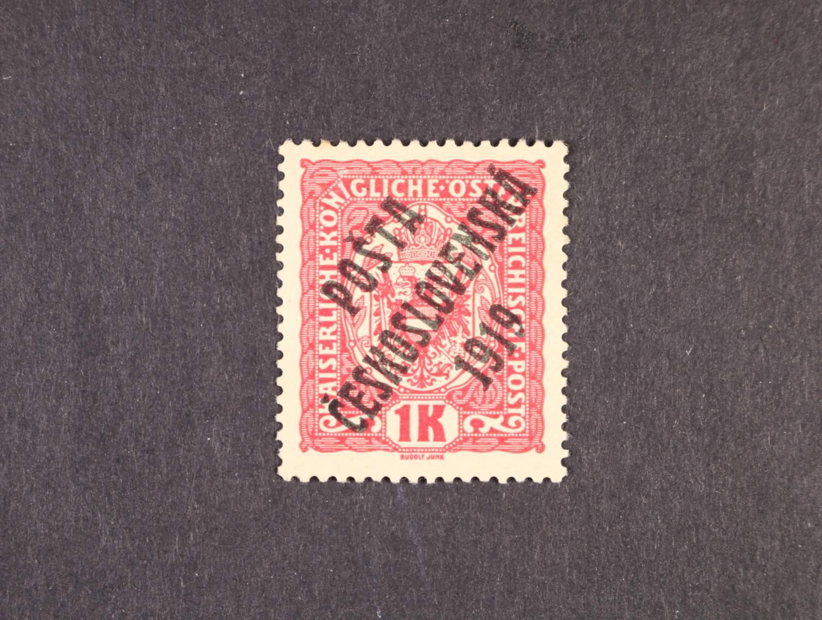 zn. č. 47b černý přetisk, typ I, zk. Gilbert, Stupka