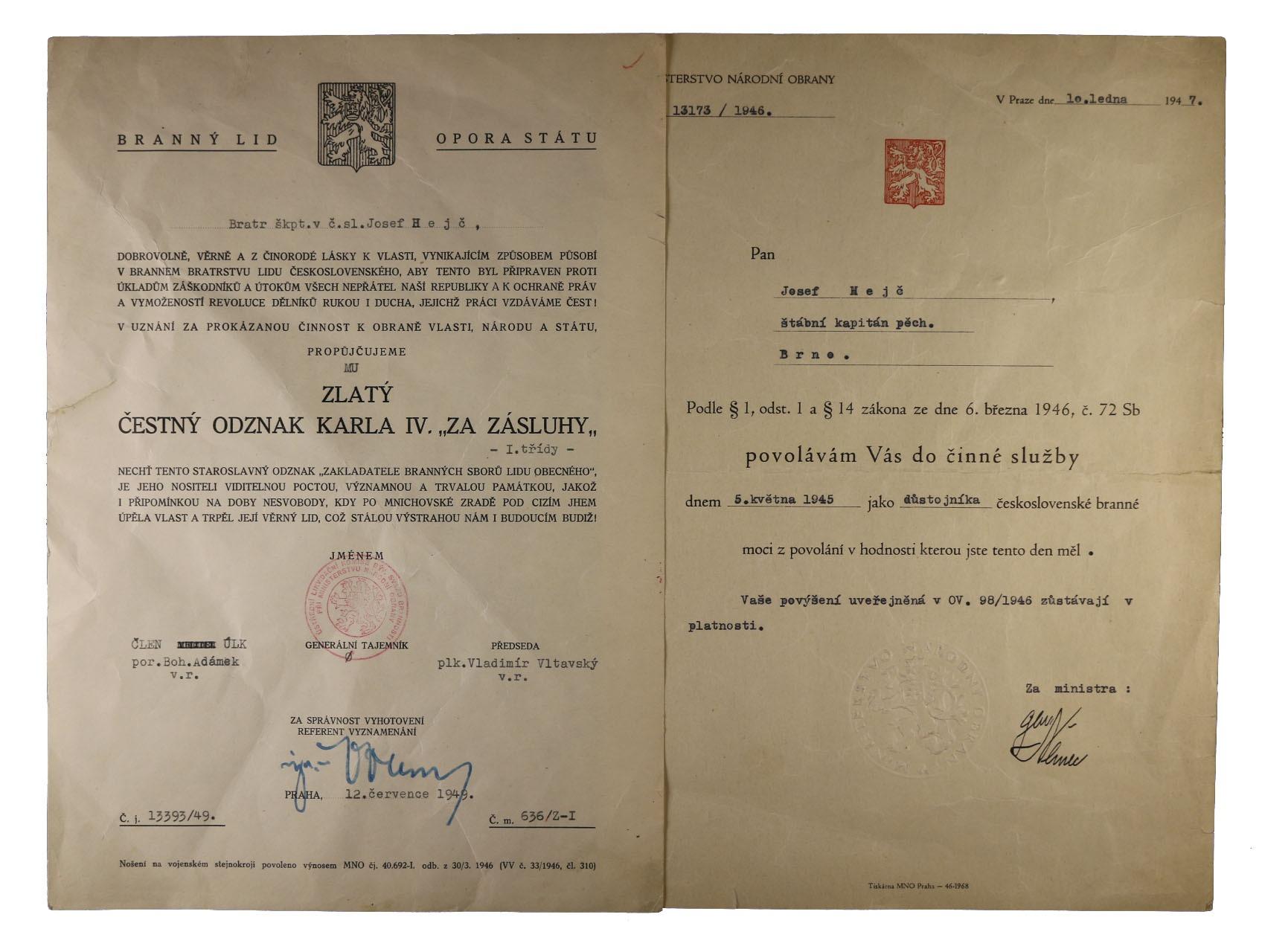 Dekret na čestný odznak Karla IV., Zlatý čestný odznak 1. třídy za zásluhy k tomu povolání do činné služby