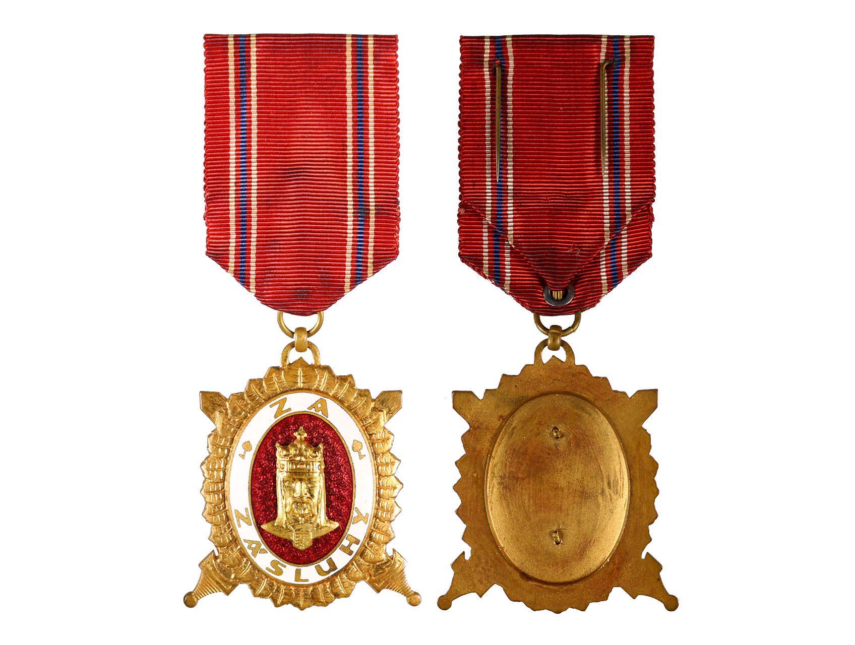 Diplomový čestný odznak krále Karla IV., stupeň čestný člen, Zlatý čestný odznak 1. třídy za civilní zásluhy, typ 1945-1949, N96a1b