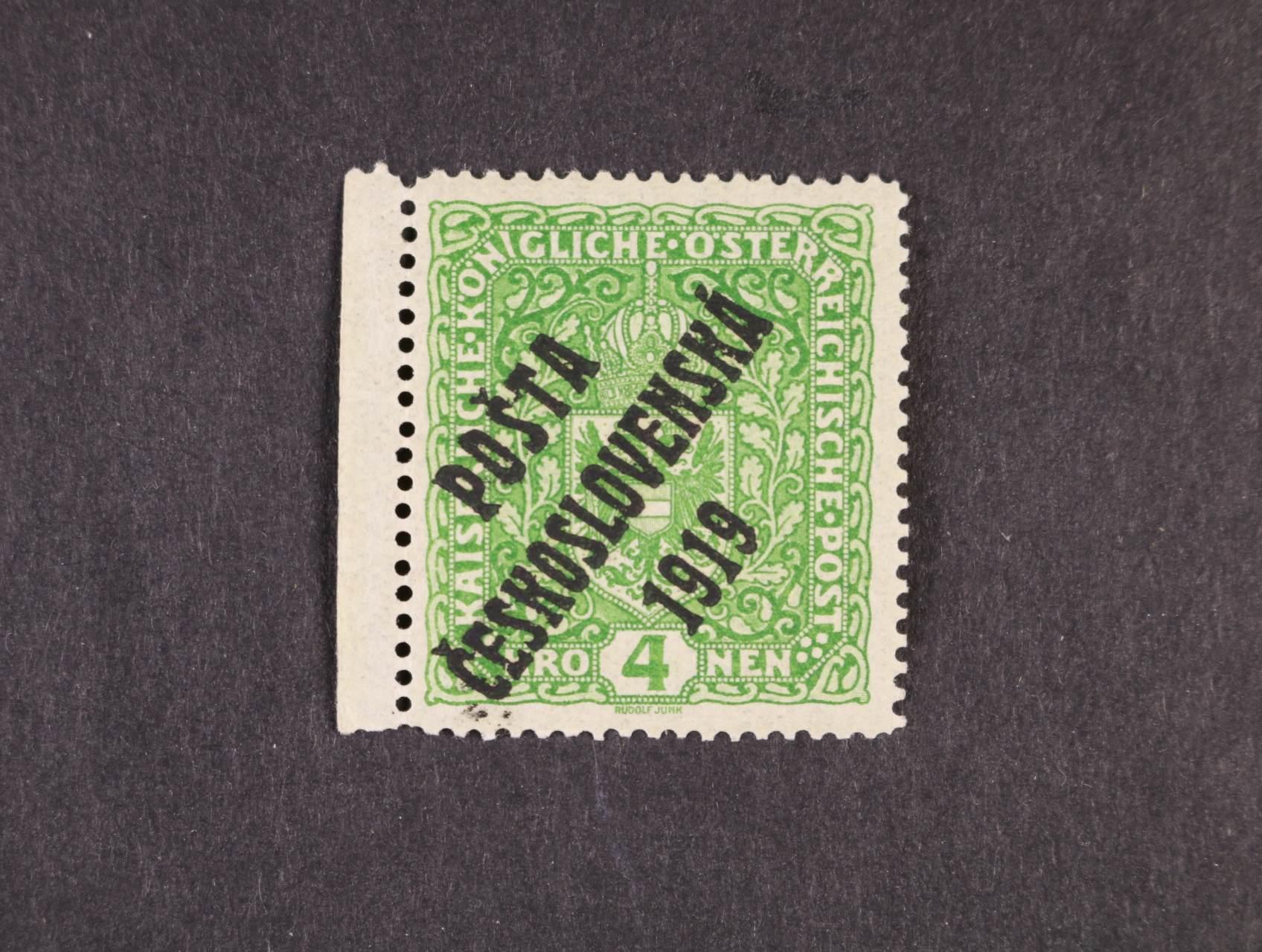 zn. č. 50 II s levým okrajem, zk. Karásek, kat. cena 1000 Kč