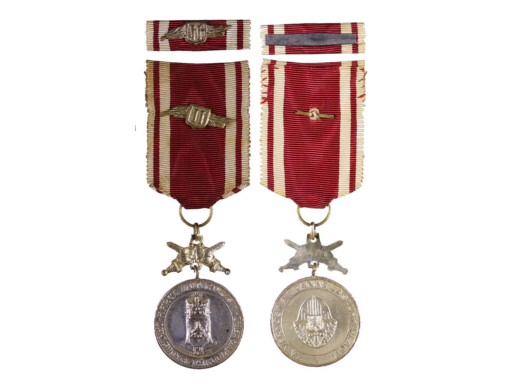 Stříbrná medaile DOK, Za věrnost a branné zásluhy, k tomu ministužka, N99A2a