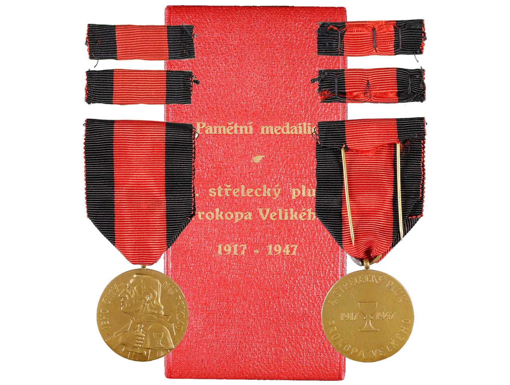 Pamětní medaile 4. střeleckého pluku Prokopa Velkého, dobová etue s vyzlaceným textem, N51, VM86