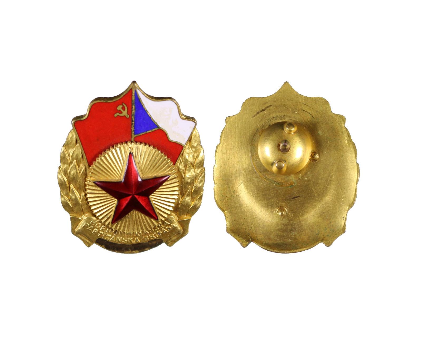 Odznak Hornonitranské partyzánské brigády kpt. Trojana s vybroušeným jnénem, uchycení na šroub, VM 126a