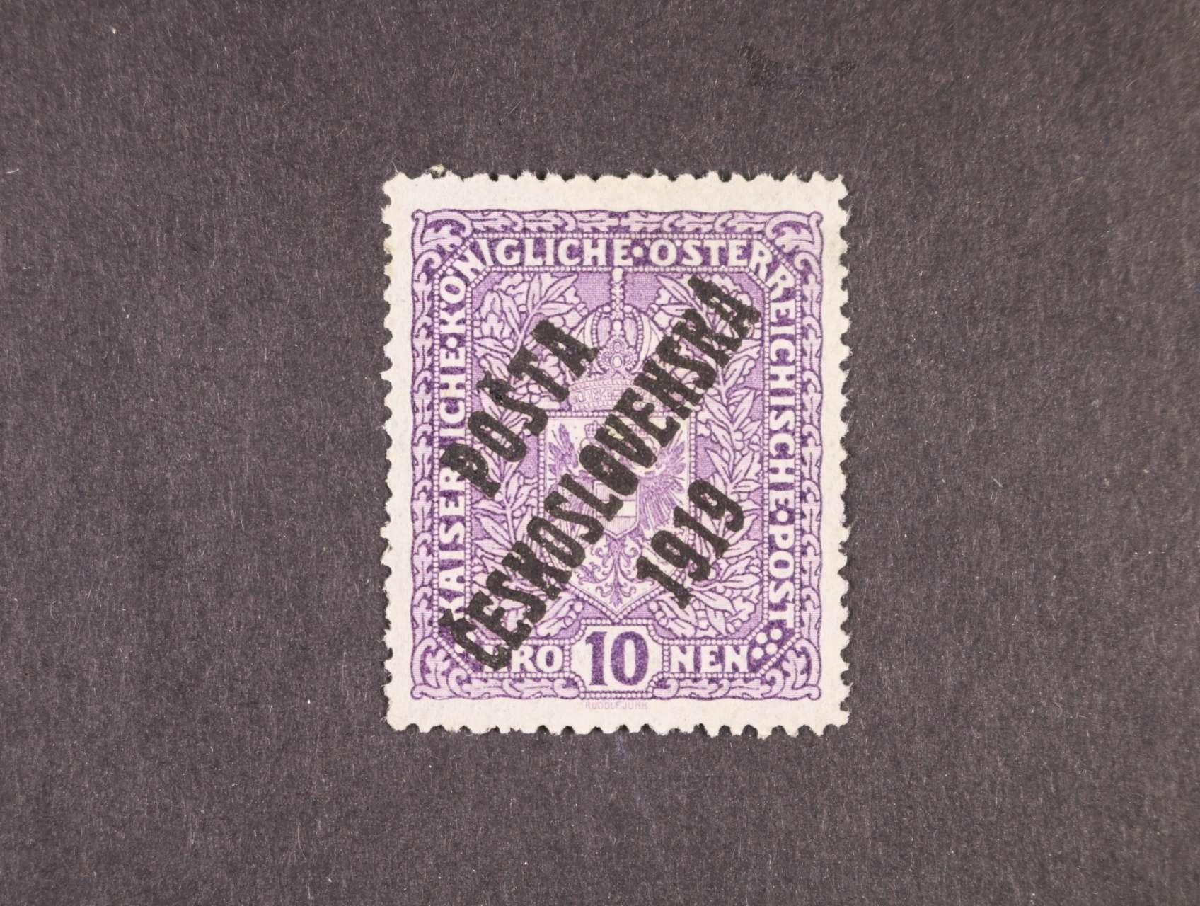 zn. č. 51 I 10K světlá, úzká s přetiskem I. typu, zk. Lešetický, Stupka, kat. cena 8000 Kč
