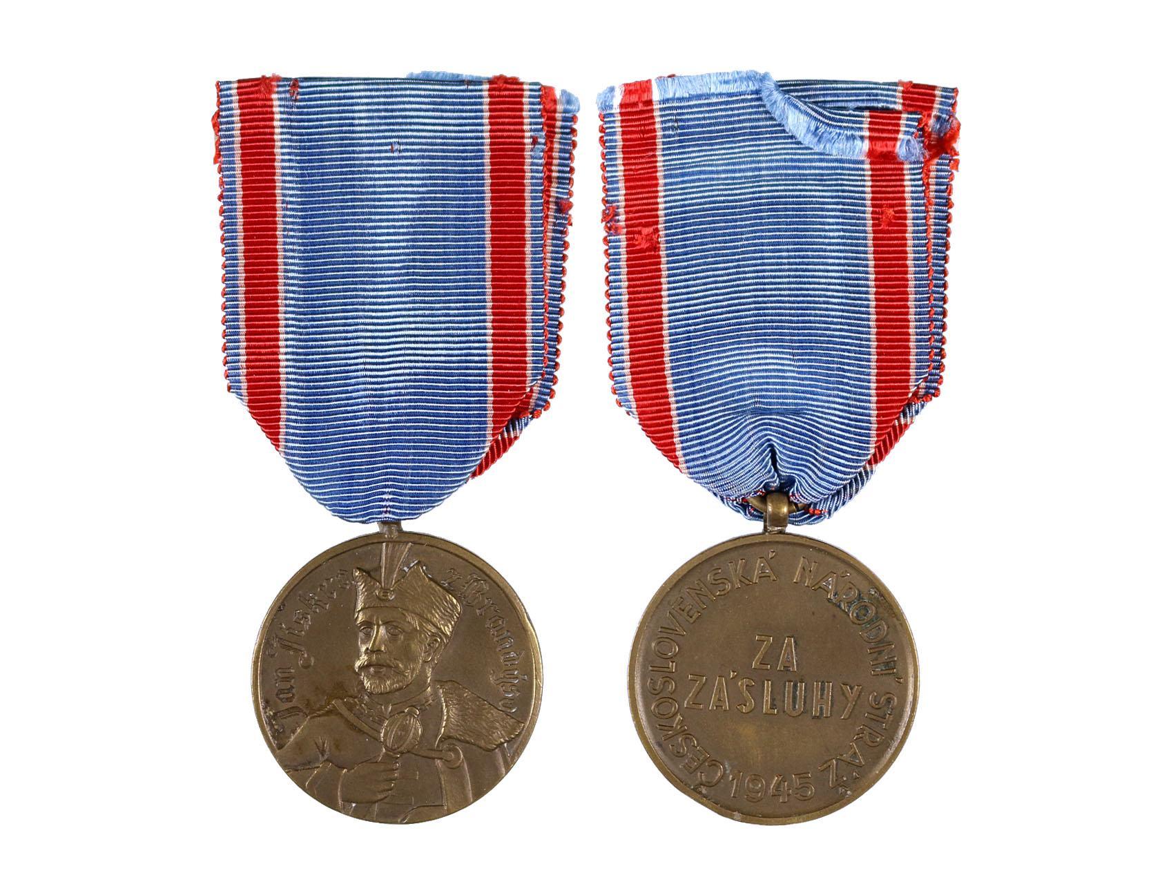 Pamětní medaile Čs. národní stráže Jana Jiskry z Brandýsa, bronzová, nepůvodní stuha, VM 193