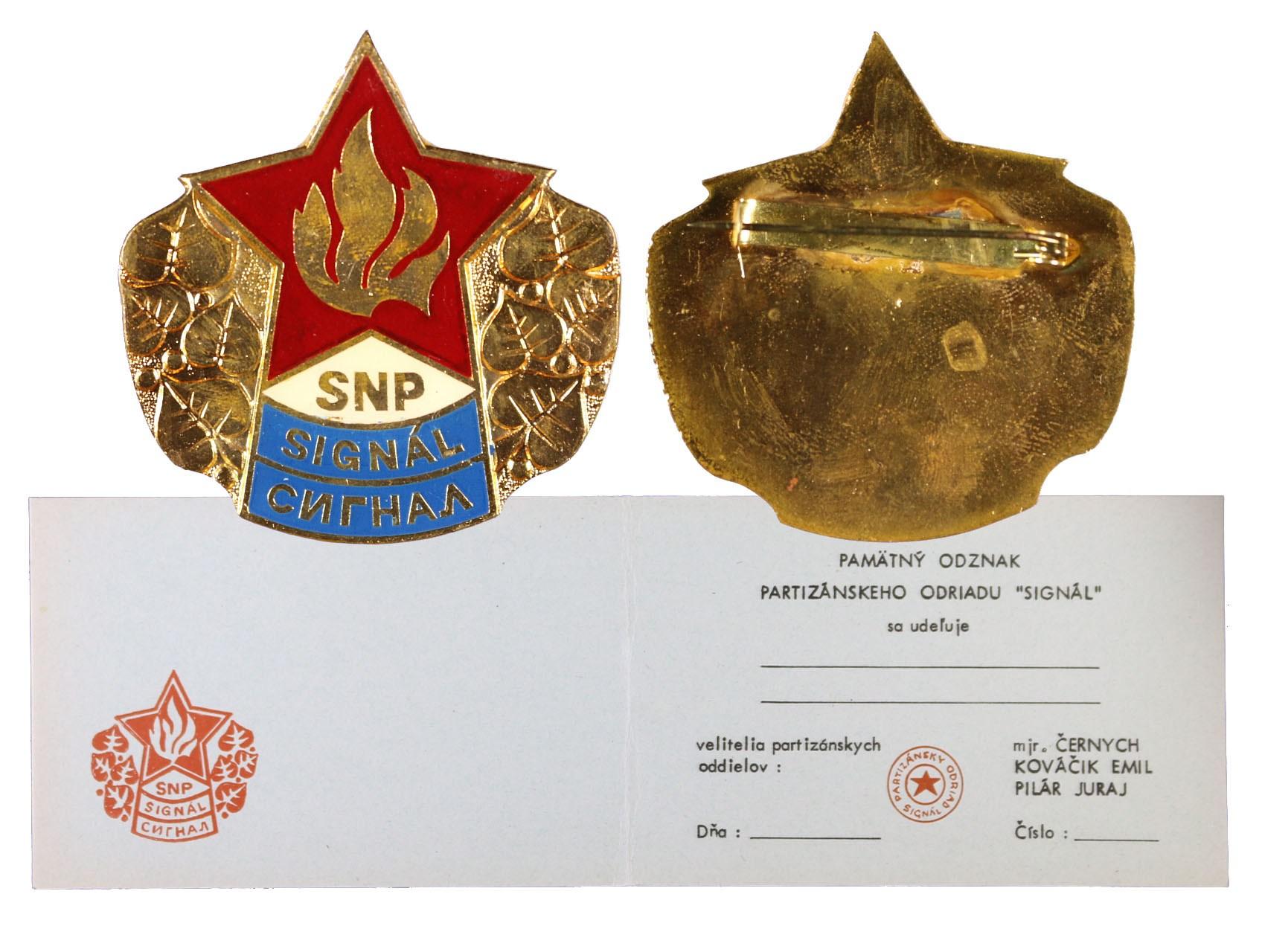 Pamětní odznak partyzánského odřadu Signál s nevyplněným udělovacím průkazem