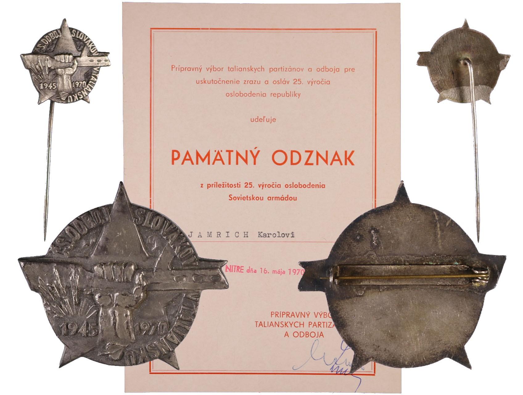 Pamětní odznak ČS odboj Slováků v Itálii s miniaturou a udělovacím dekretem z roku 1970, VM 228b