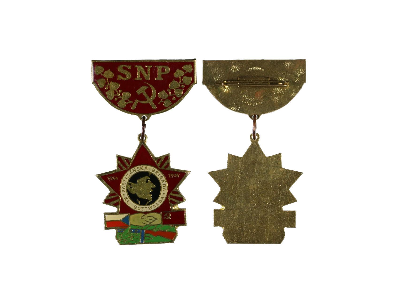 Pamětní odznak partyzánské brigády Klementa Gottwalda z roku 1974