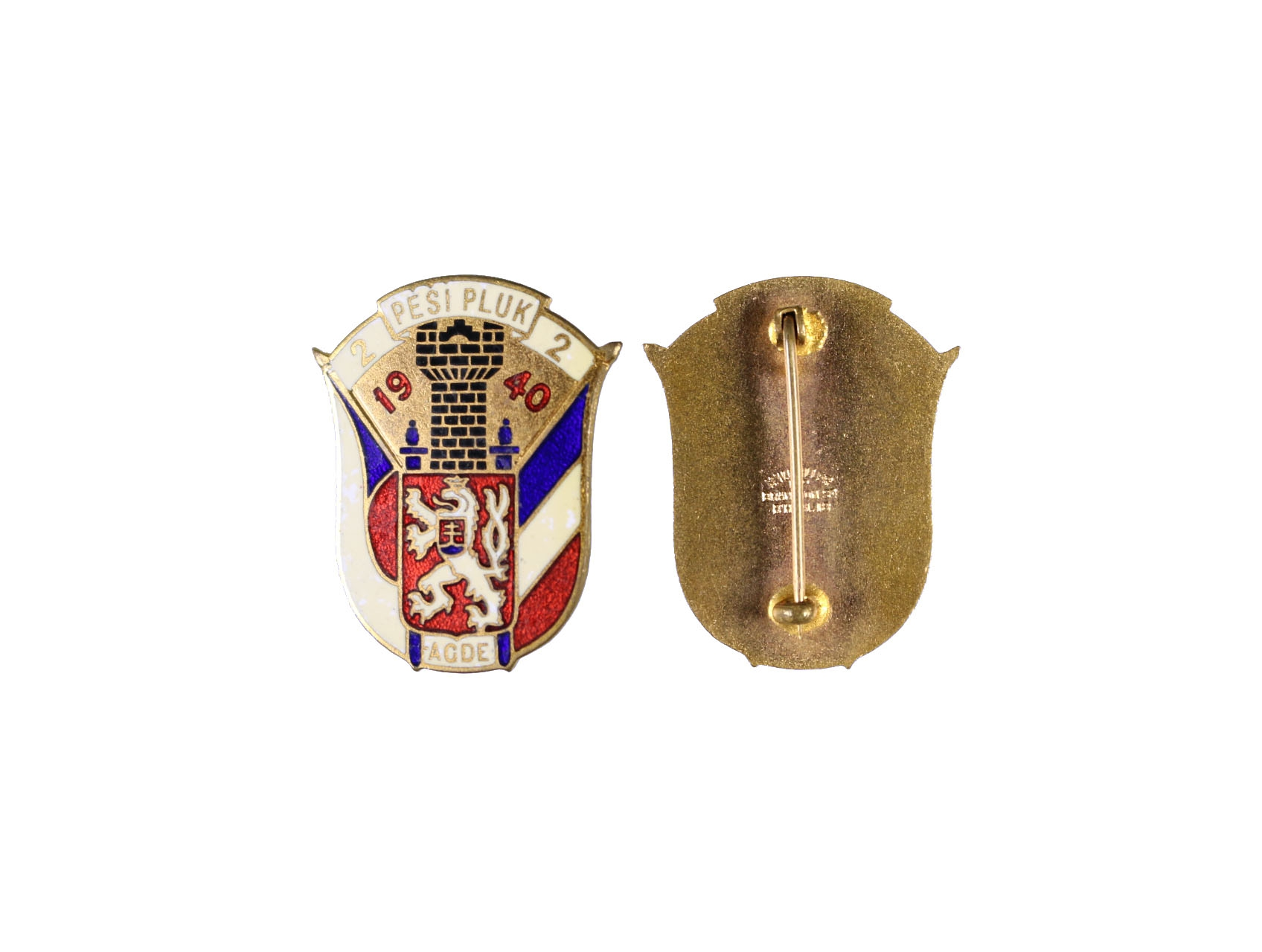 Pamětní odznak 2. pěšího pluku AGDE, smaltovaný, výrobce H.W.Miller Velká Británie, obecný kov pozlacený, smalty, rozměry 37x30 mm