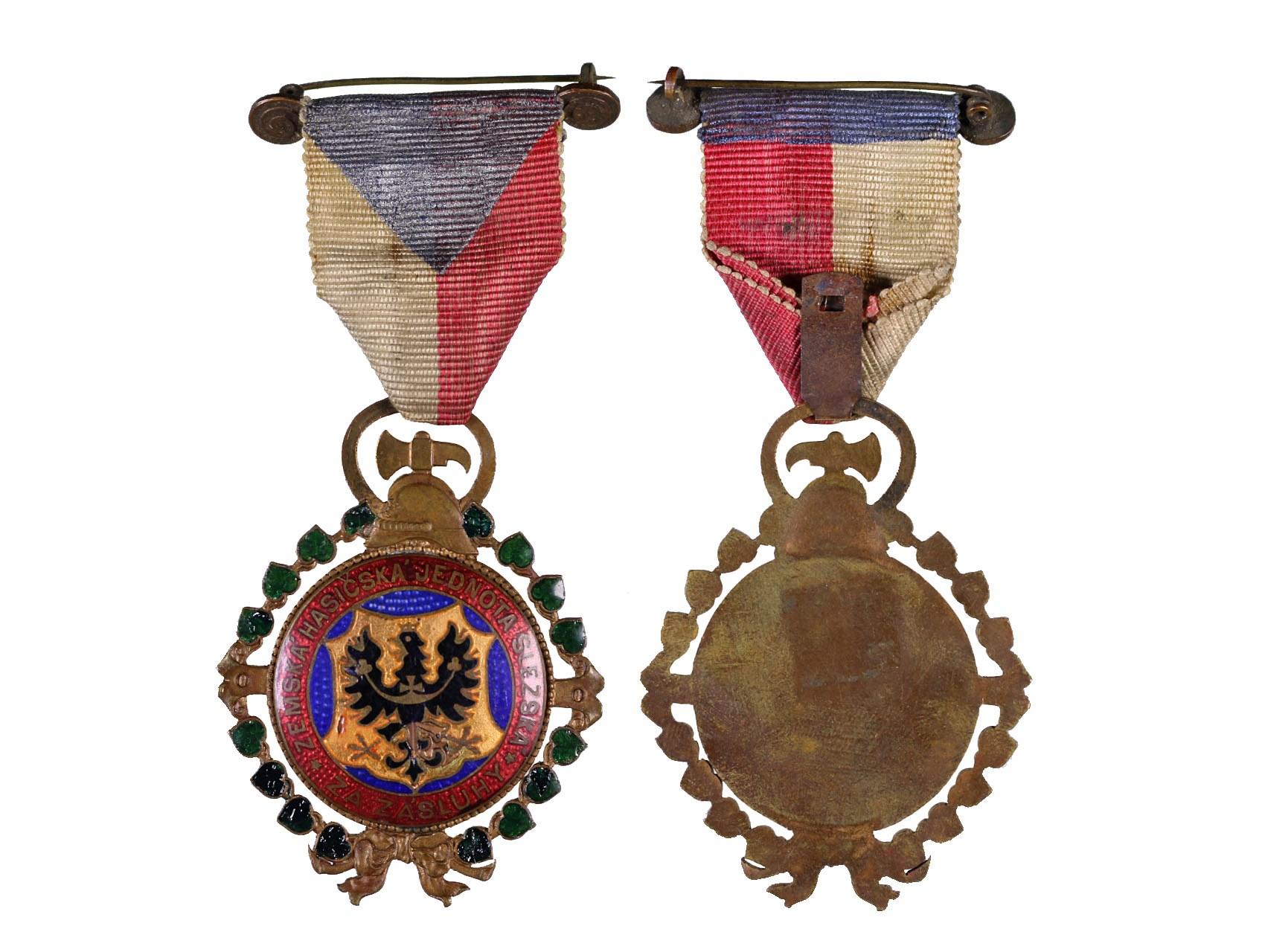 Medaile Za zásluhy, zemské hasičské jednoty slezské, bronz, smalty, původní stuha