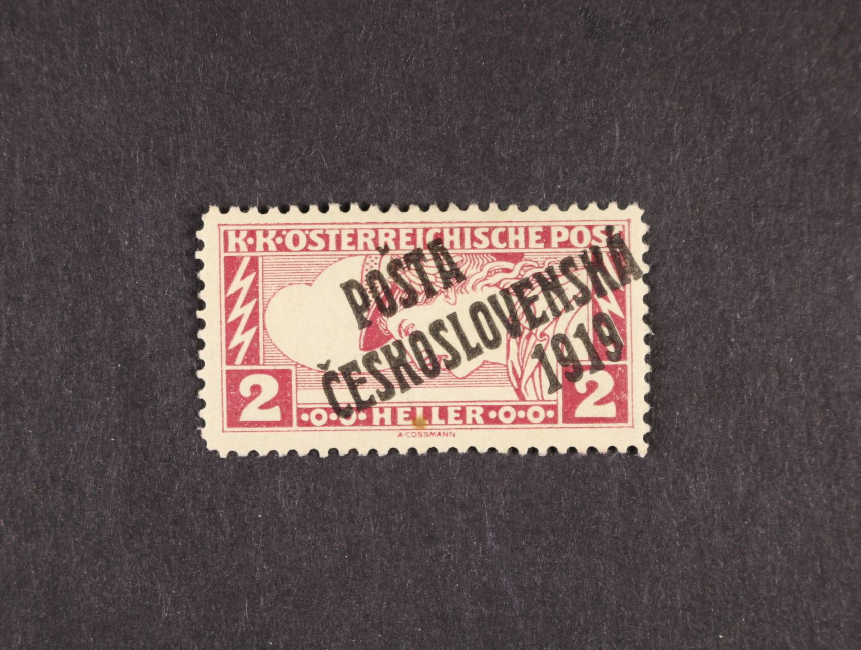 zn. č. 57 Aa, typ III, černý přetisk, dřívko v papíře, zk. Gilbert