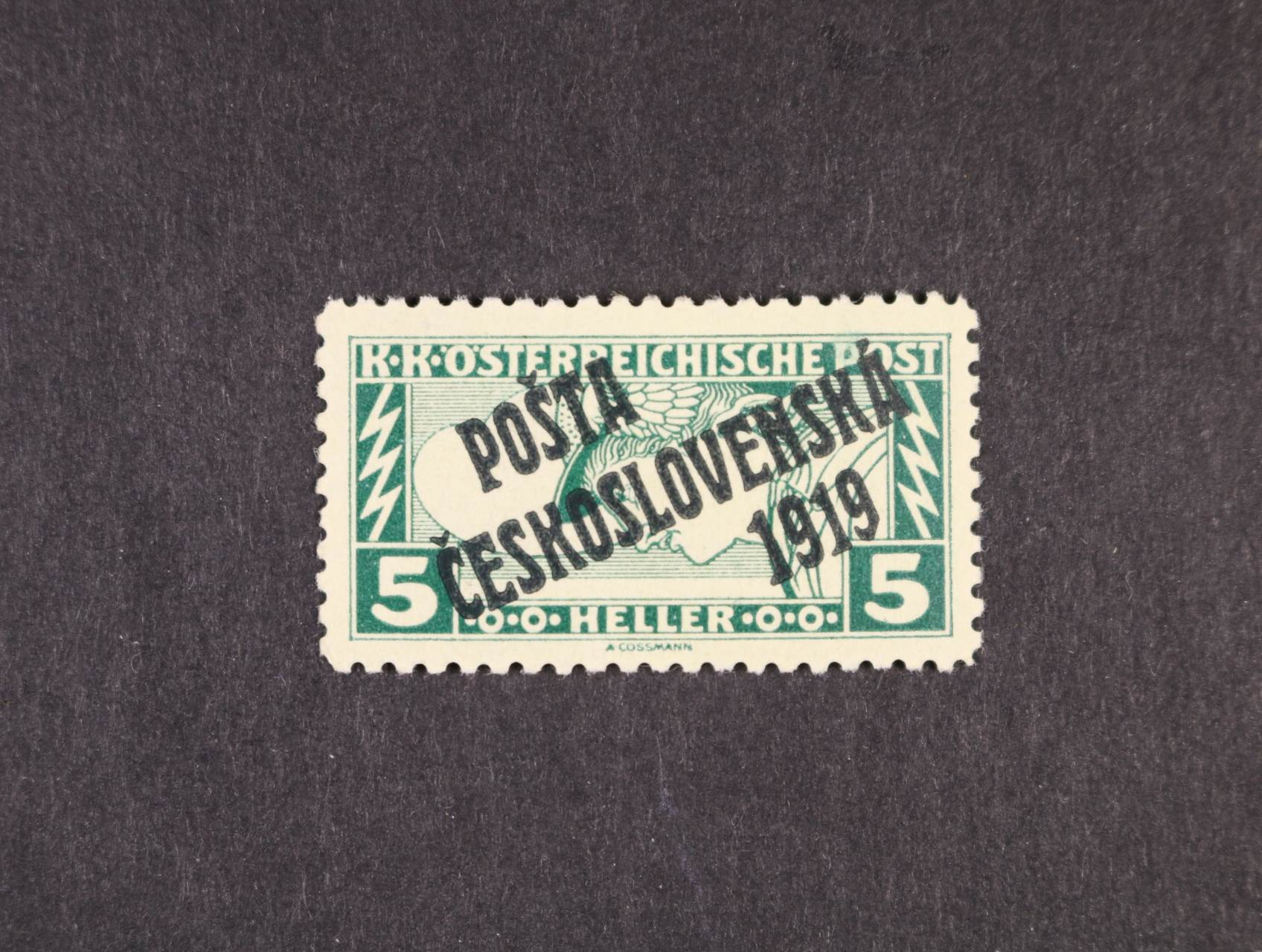 zn. č. 58 Bb, typ I, zelenočerný přetisk, zk. Stupka