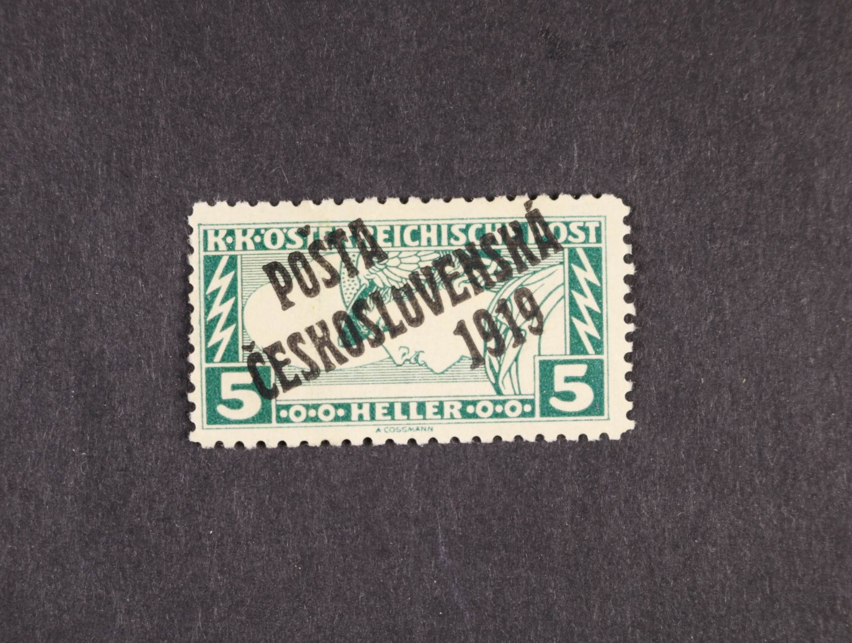 zn. č. 58 C, typ III, DV přetisku vyštípnuté druhé O v nápisu ČESKOSLOVENSKO, zk. Karásek