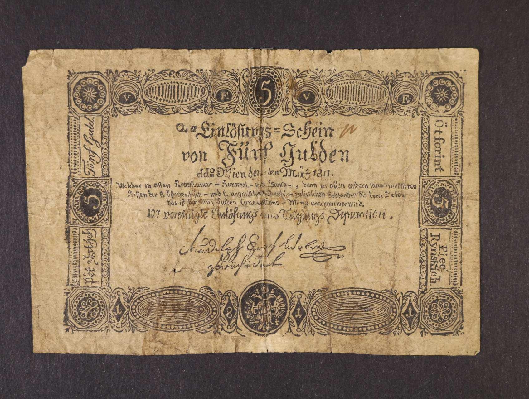5 Gulden 1.3.1811 dobový tištěný padělek, Ri. 47