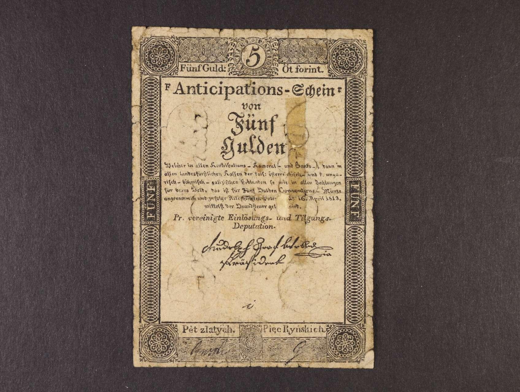 5 Gulden 16.4.1813 dobový tištěný padělek, Ri. 52