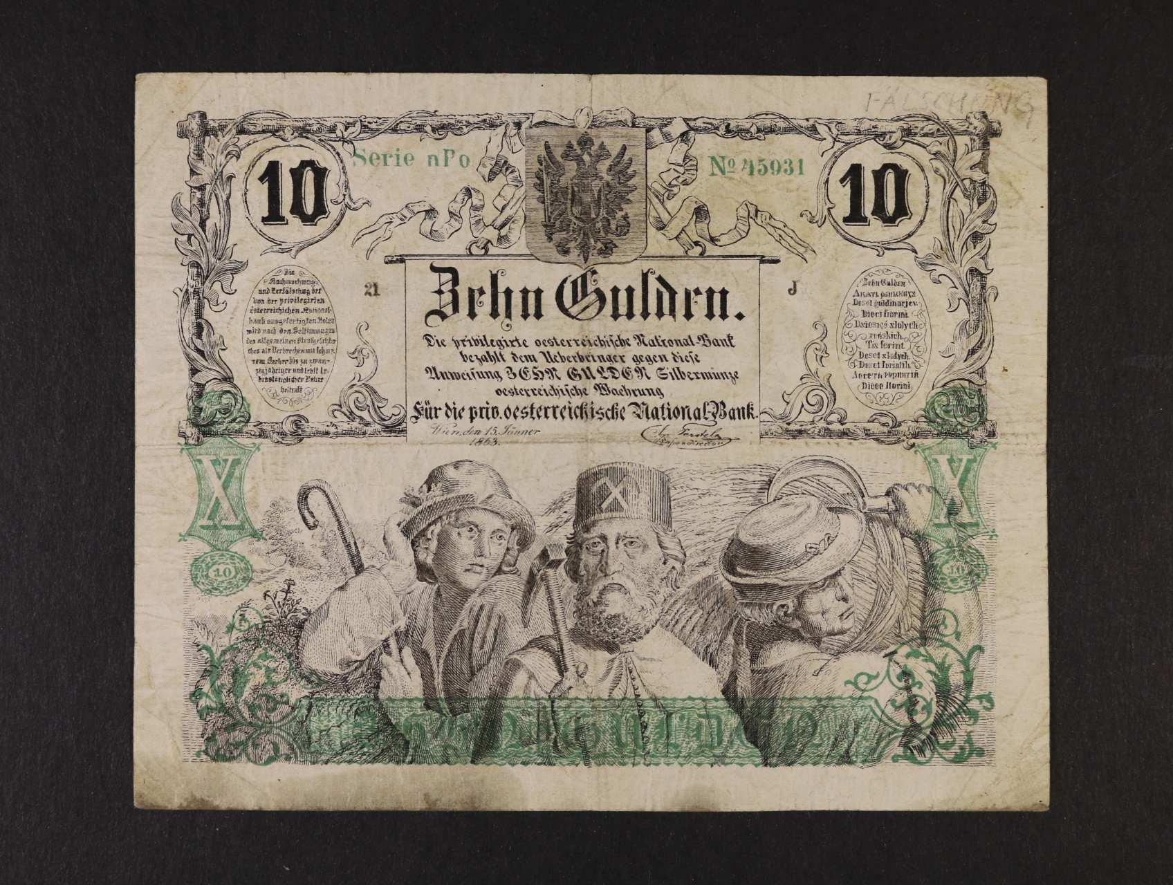 10 Gulden 15.1.1863 série nPo, dobový tištěný a velmi zdařilý padělek , Ri. 136, Pi. A89