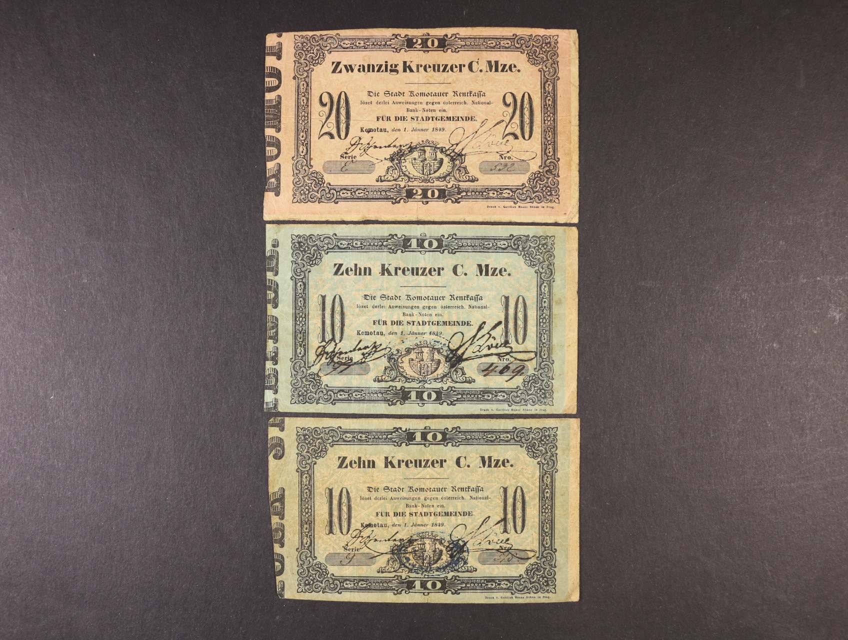 Comotau (Chomutov), 10 kr. (2x),  20 kr. C.M. 1.1.1849 Stadtgemeinde, V.R. 220.19.01, 02.O, 3ks
