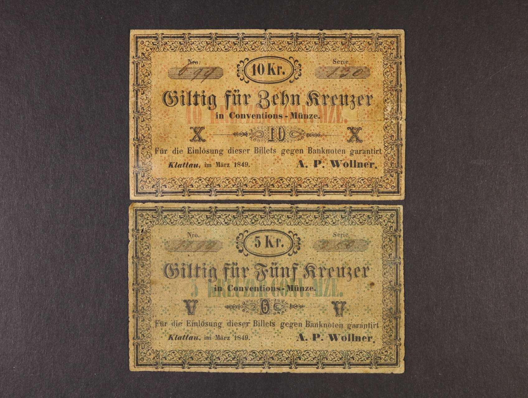 Klattau (Klatovy), 5, 10 kr. C.M. III.1849 A.P.Wollner, V.R. 620.04.02, 03