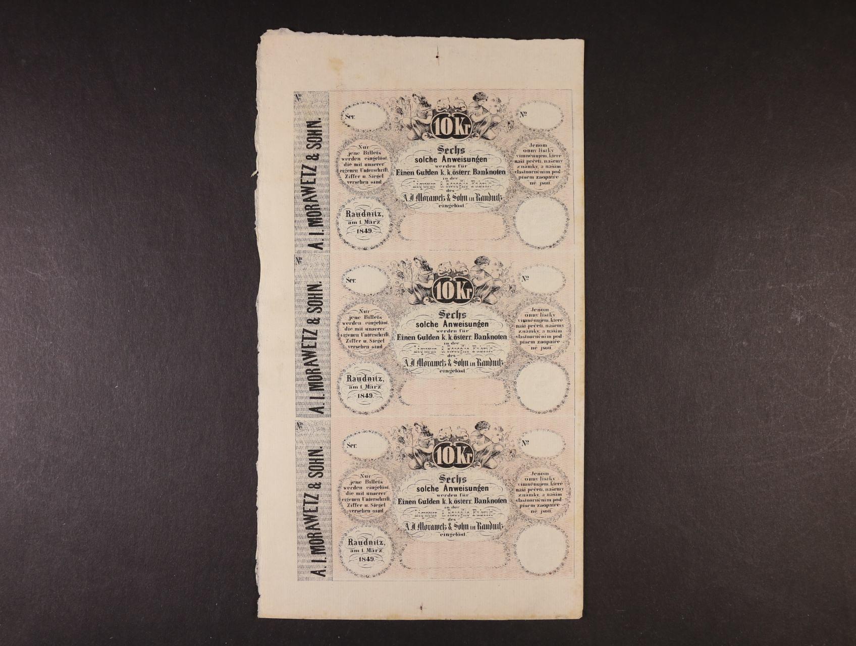 Raudnitz (Roudnice), 10 kr. C.M. 1.3.1849 A.J.Morawetz svislý 3-blok, V.R. 1070.04.07.I.F