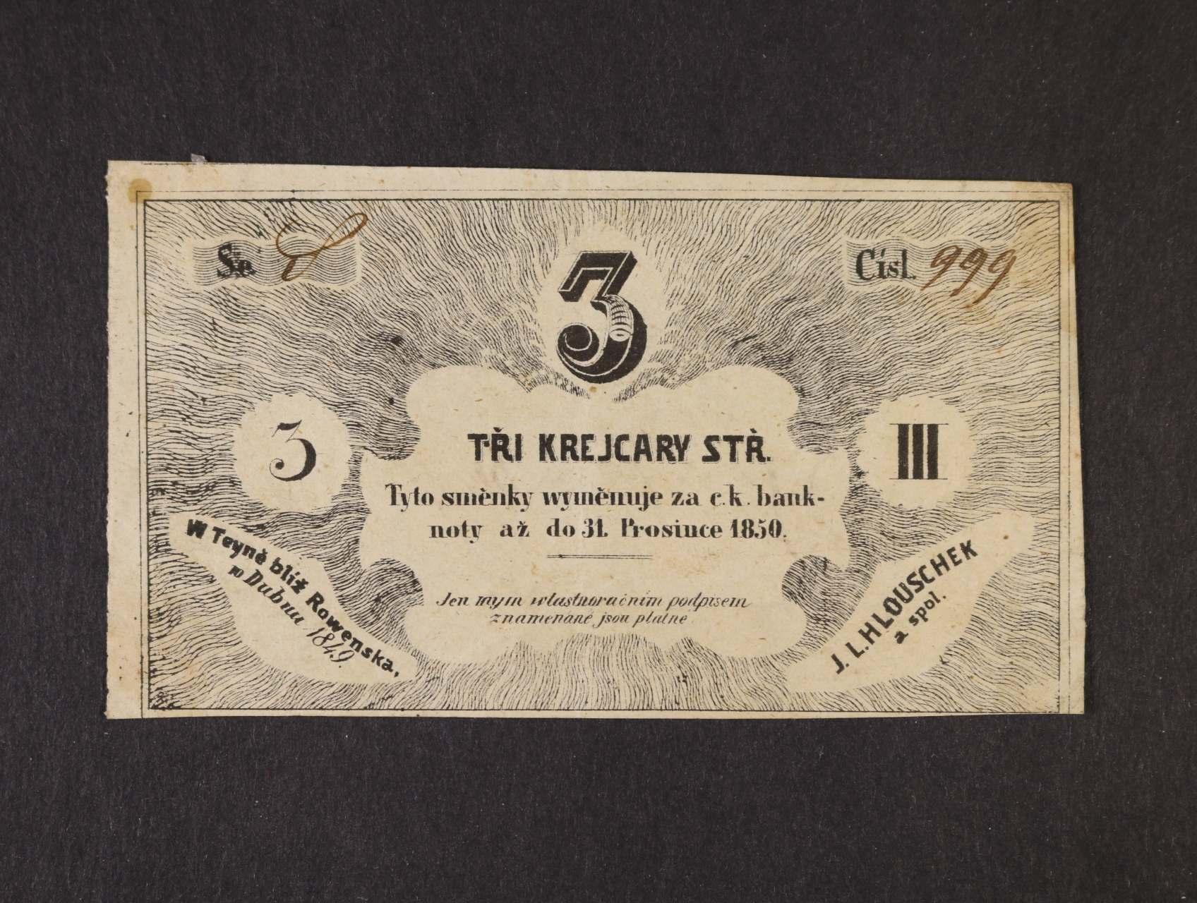 Teyn (Týn blíž Rowenska), 3 kr. stř. b.d. J.L.Hlouschek, V.R. 1345.02.c.O, na R raz. a podpis