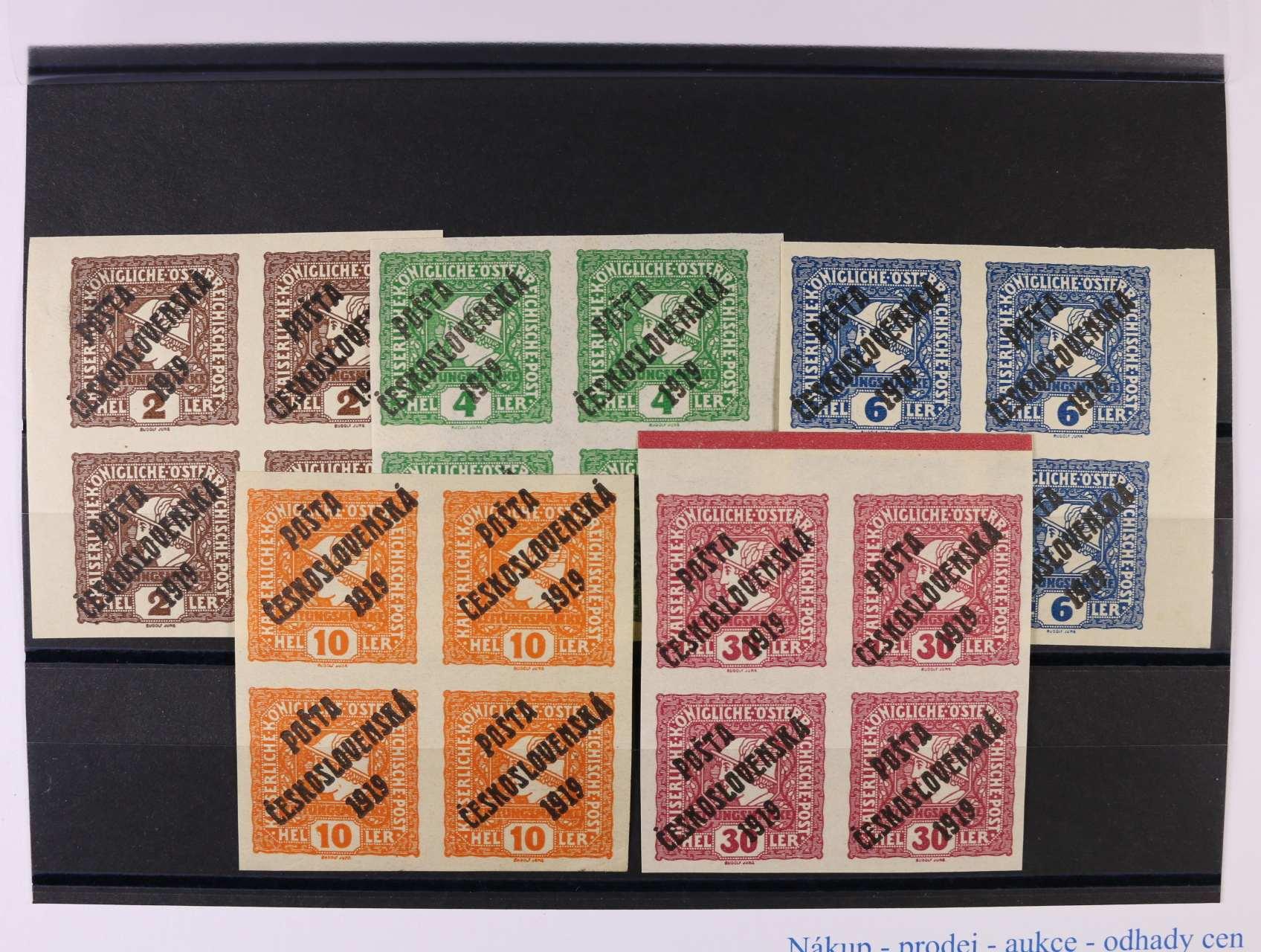 zn. č. 60 - 64 - převážně krajové čtyřbloky, kat. cena 1100 Kč