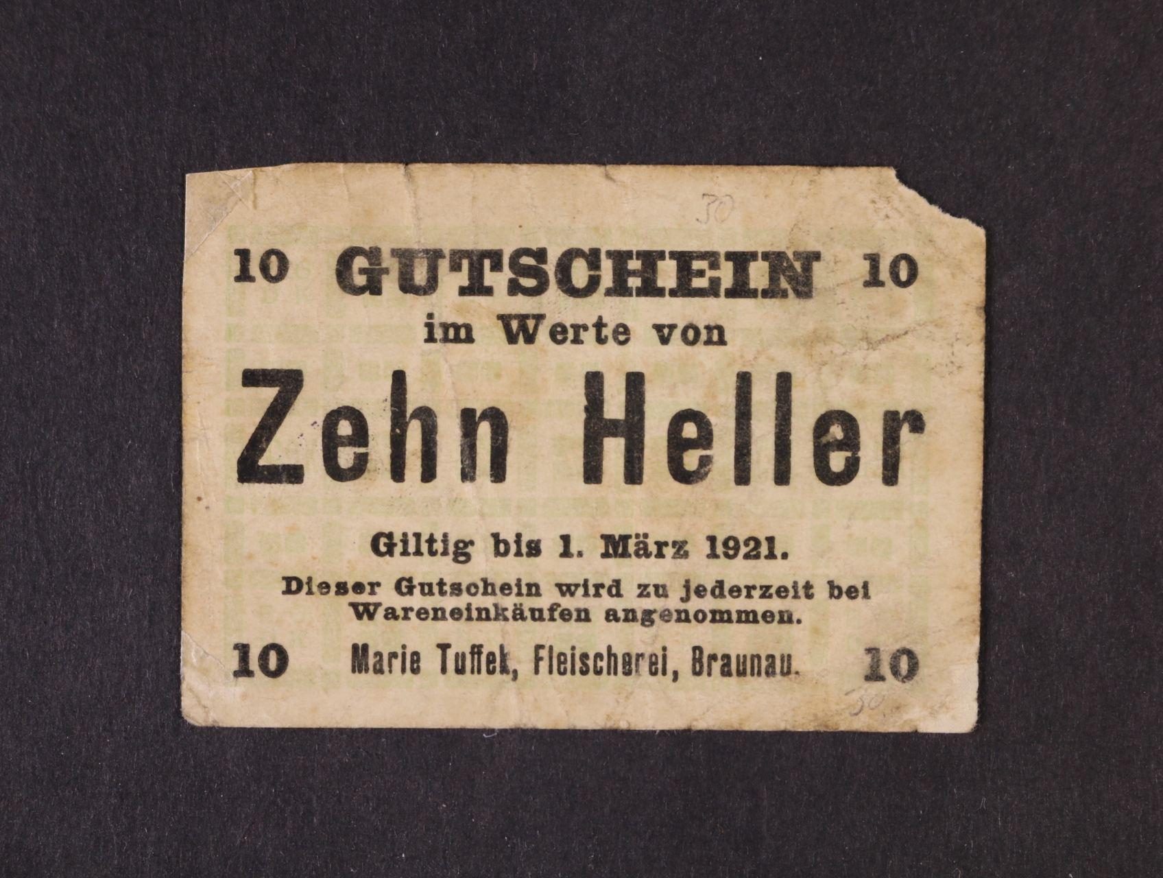 Braunau (Broumov), 10 h b.d. - 1.3.1921 Marie Tuffek, D.H. 14.34.1, utržený rožek