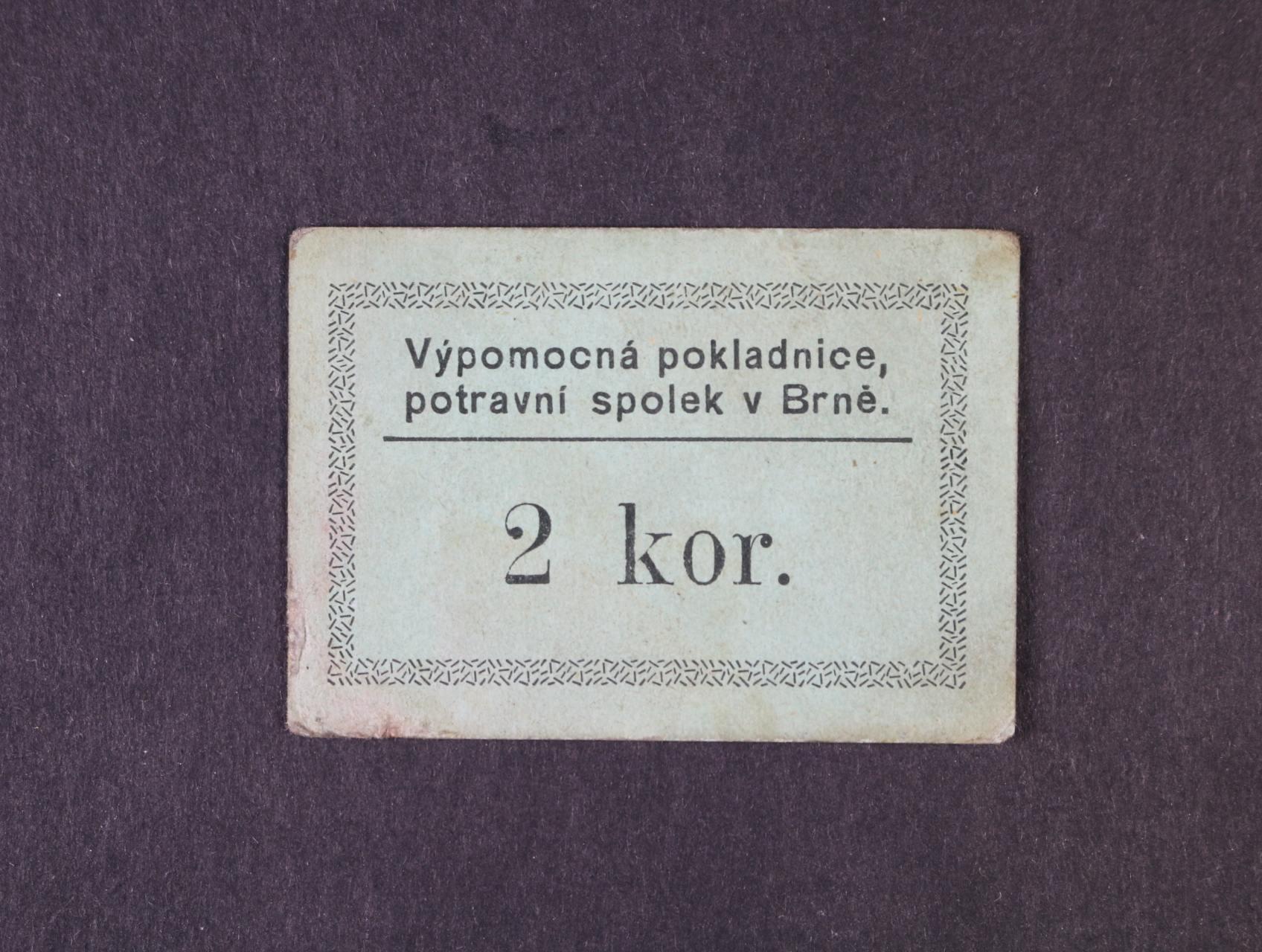 Brno, 2 K b.d. Výpomocná pokladnice, potravní spolek v Brně, na R oválné raz., D.H. 15.2