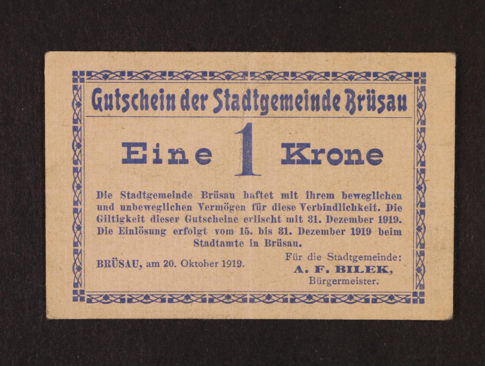 Brüsau (Březová), 1 K 20.10.1919 město, D.H. 17.1.2