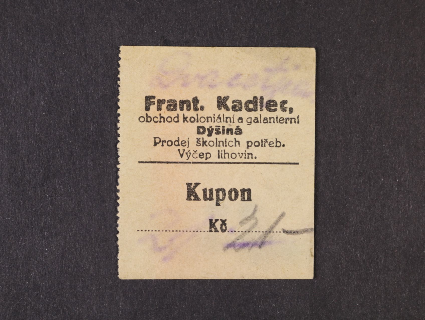 Dýšina, 21 Kč b.d. Frant. Kadlec, D.H. 40.1.16