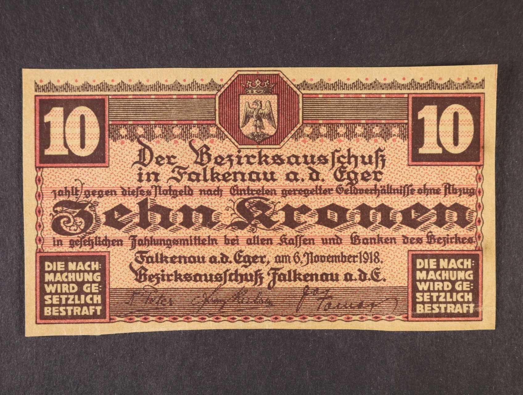 Falkenau a. d. Eger (Falknov nad Oří), 10 K 6.11.1918 Okres, D.H. 44.2.2b