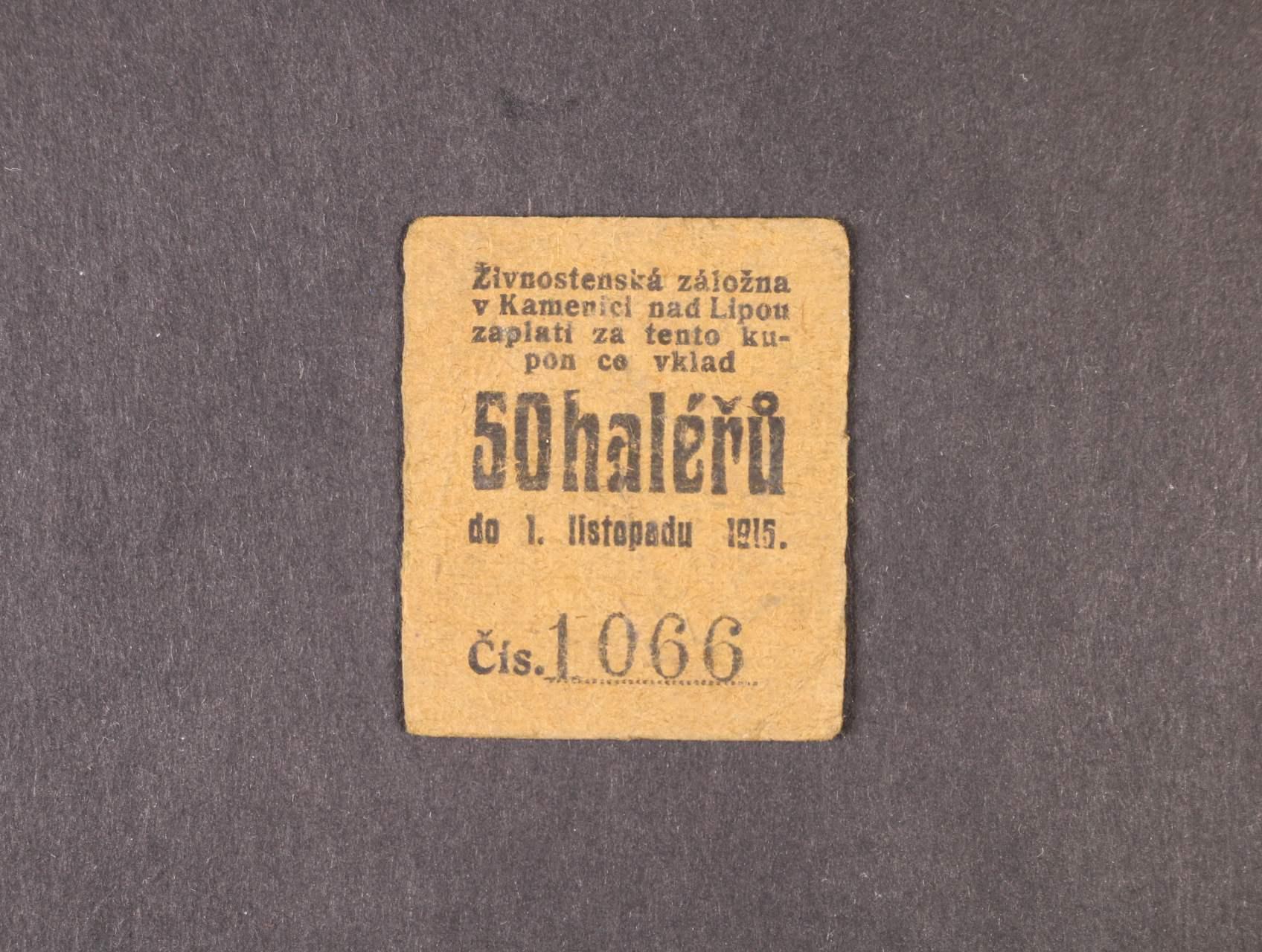 Kamenice nad Lipou, 50 h 1.11.1915 Živnostenská záložna, D.H. 91.1.3b
