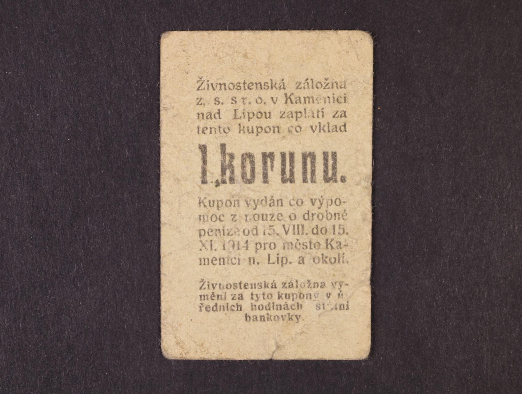 Kamenice nad Lipou, 1 K 15.8.1914 série 1313 Živnostenská záložna, D.H. 91.1.1