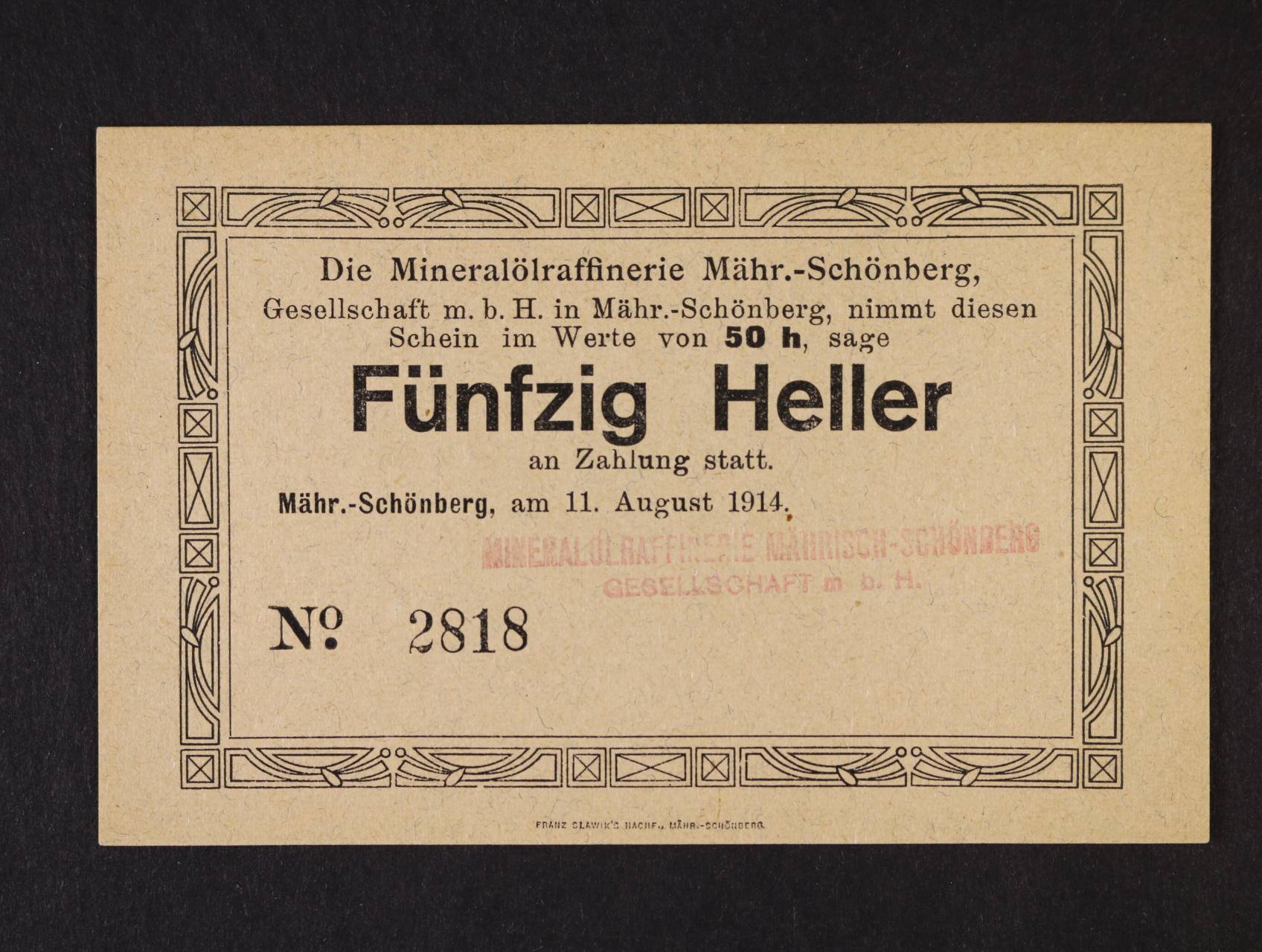 Mährich Schönberg (Šumperk), 50 h 11.8.1914 Mineralölraffinerie G.m.b.H, D.H. 120.2.1a.v