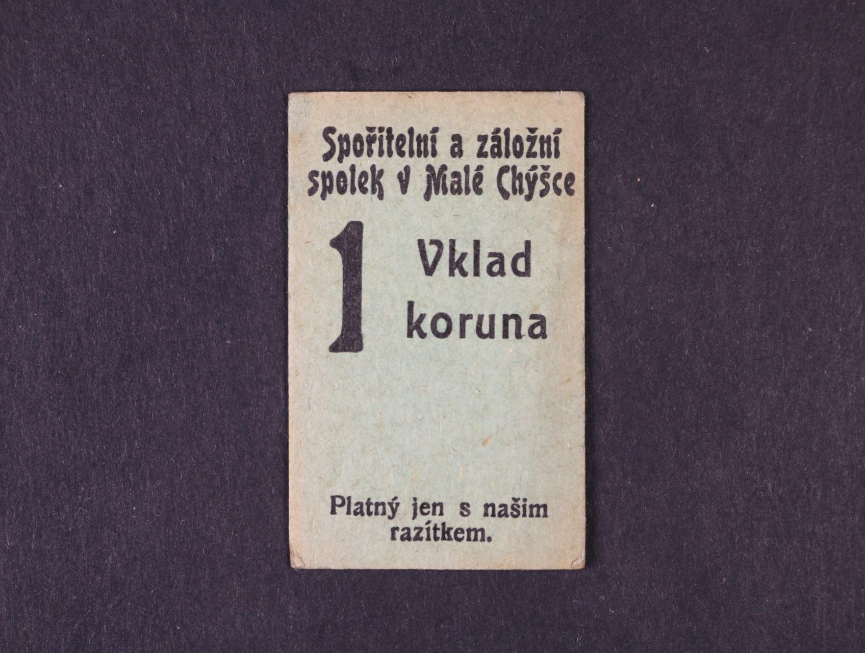 Malá Chýška, 1 K b.d. (1914) Spořitelní a záložní spolek, D.H. 122.1.2c