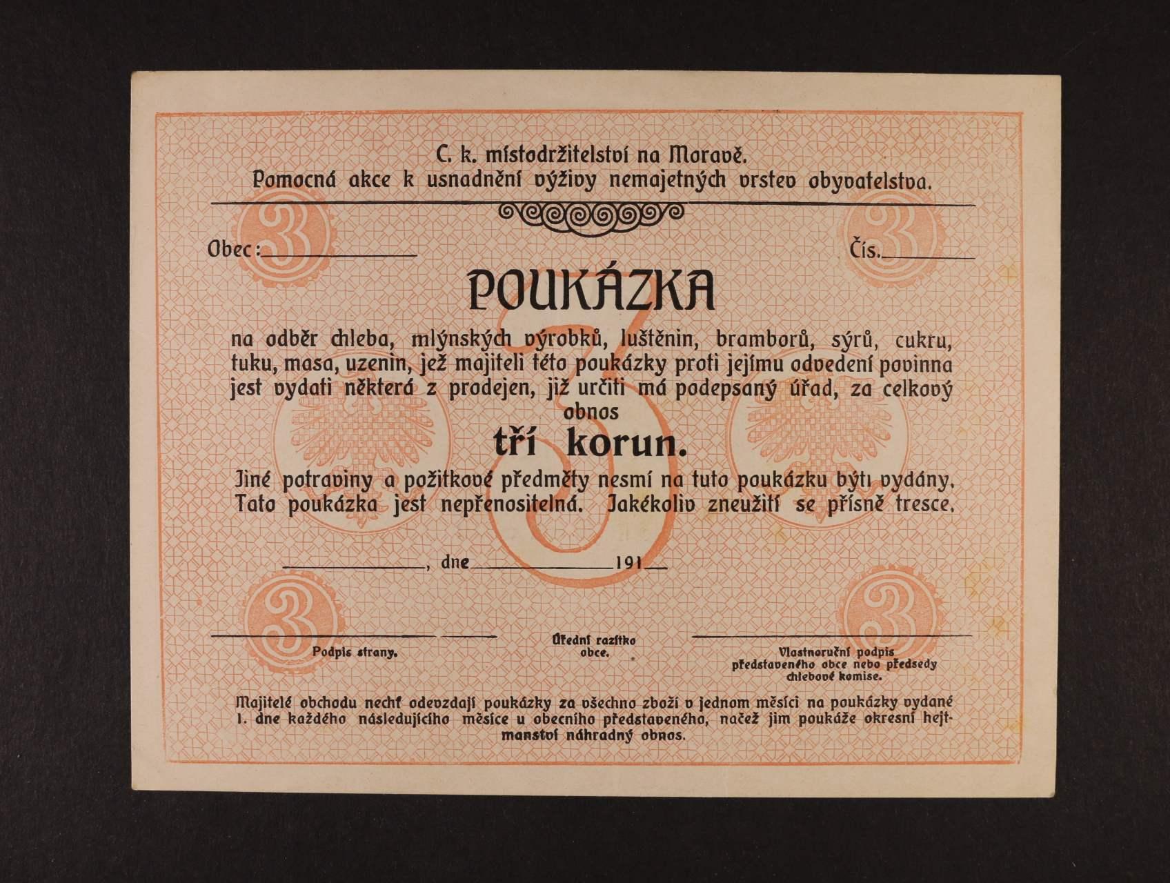 Morava (Mähren), 3 K K.k. Statthalterei in Mähren, formulář, D.H. 129.1.4a