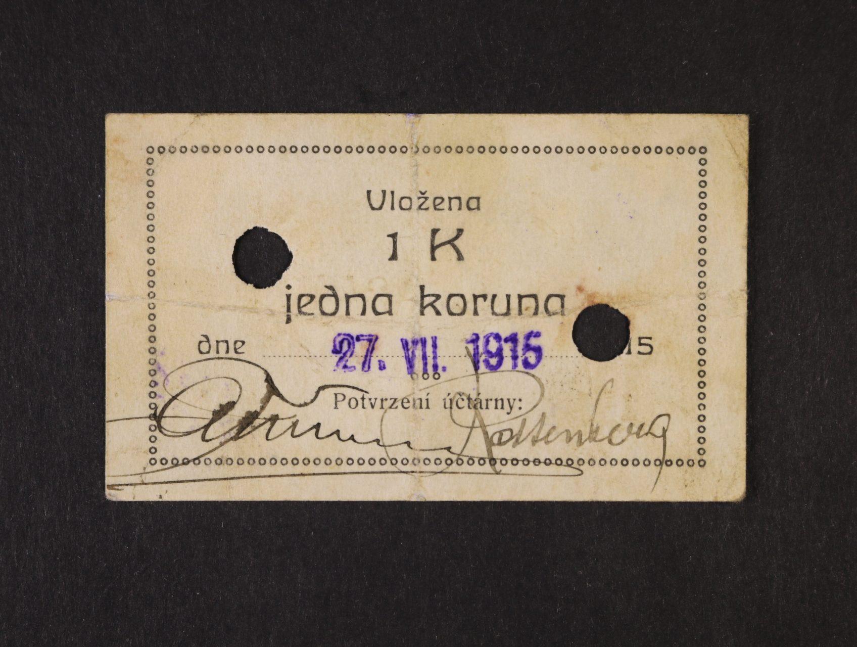 Pelhřimov, 1 K s raz. 27.VII.1915 Spořitelna města, raz., 2x perforační otvor, D.H. 158.1.2b