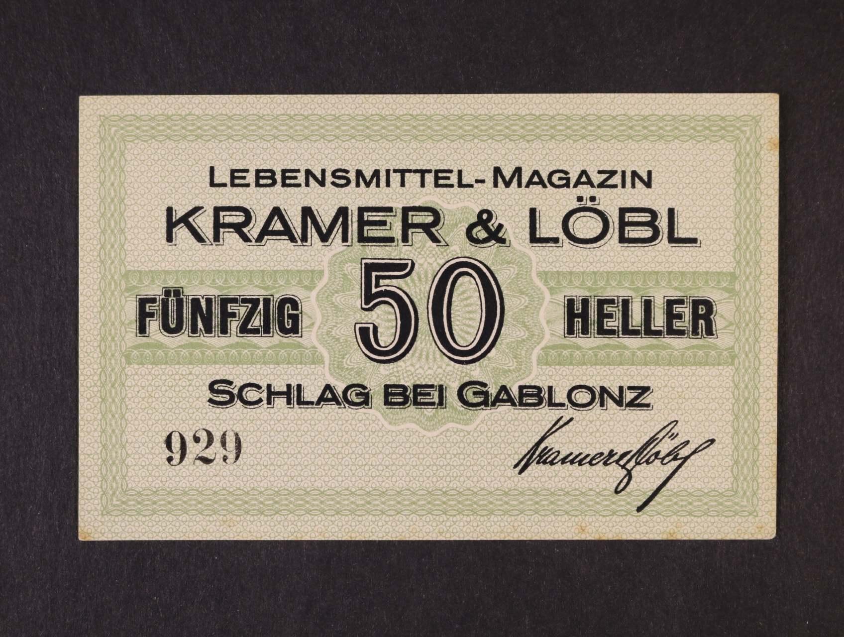 Schlag bei Gablonz (Jablonecké Paseky), 50 h bl Kramer & Löbl, D,H, 188.1.3a