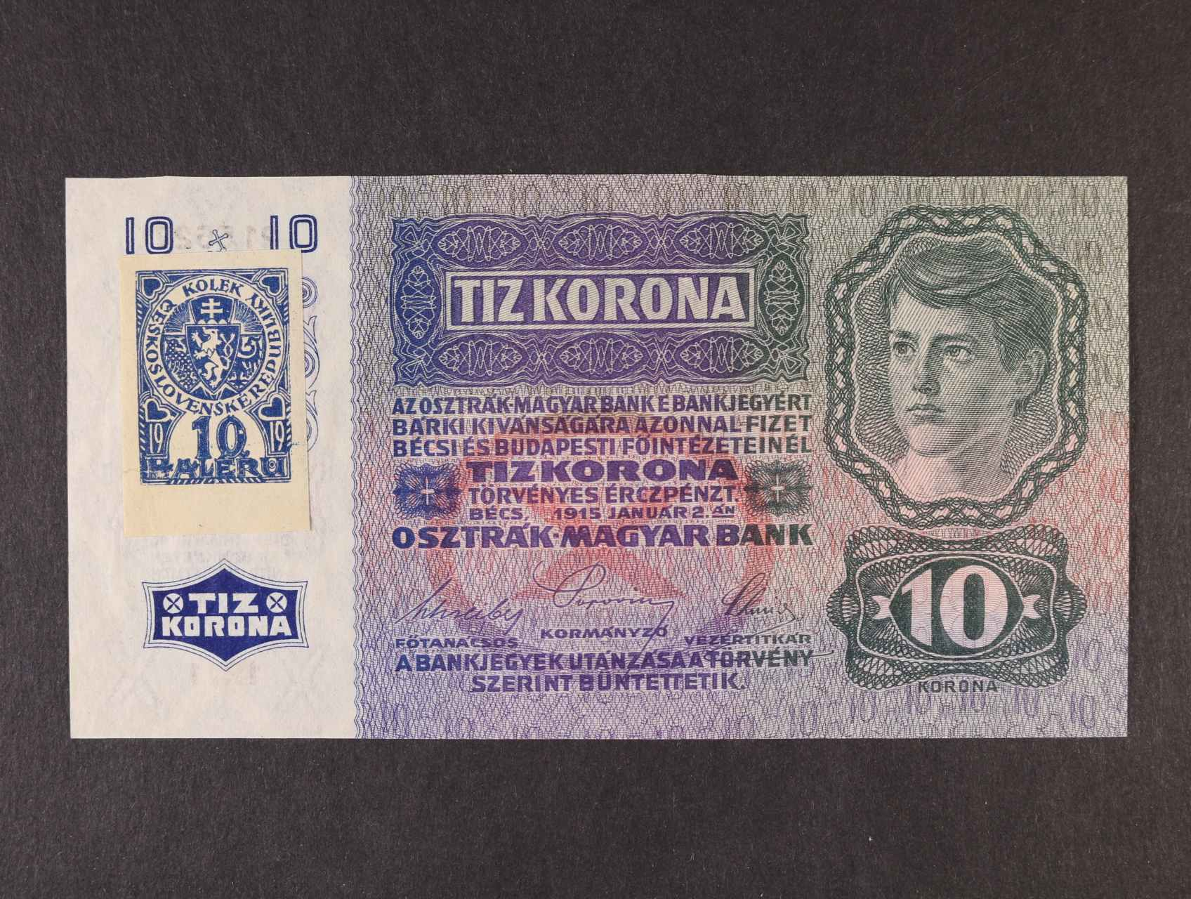 10 K 2.1.1915 kolkovaná série 1211, Ba. 1a, Pi. 1