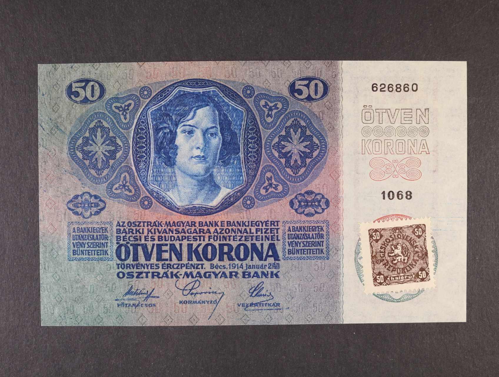 50 K 2.1.1914 kolkovaná série 1068, Ba. 4, Pi. 3