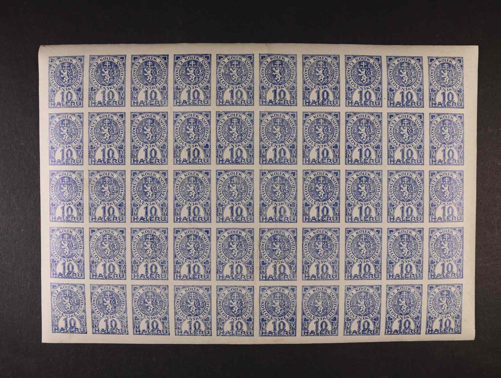 10 hal. kolek v kompletním 50ti-bloku s lepem, 1x svisle přeložen