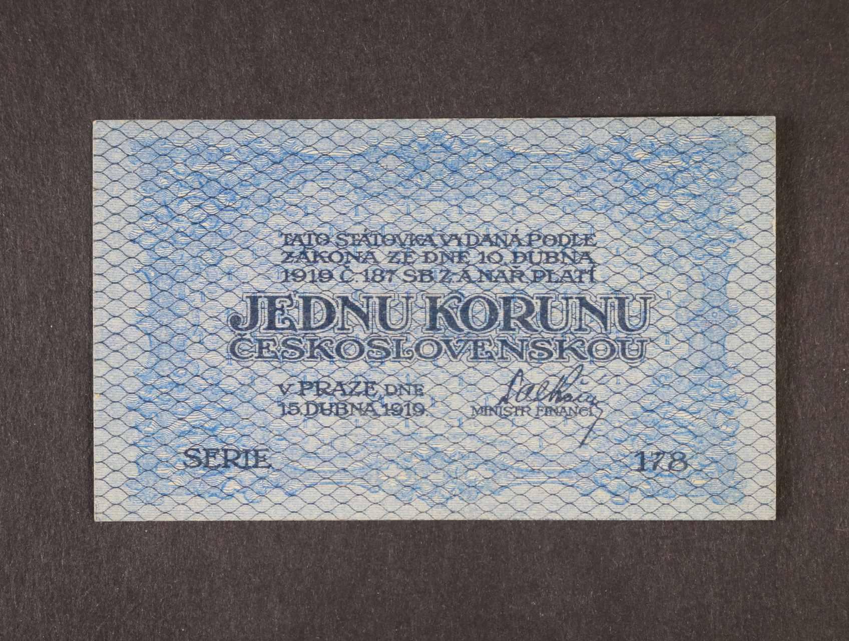 1 Kč 15.4.1919 série 178, modrá, Ba. 7, Pi. 6a