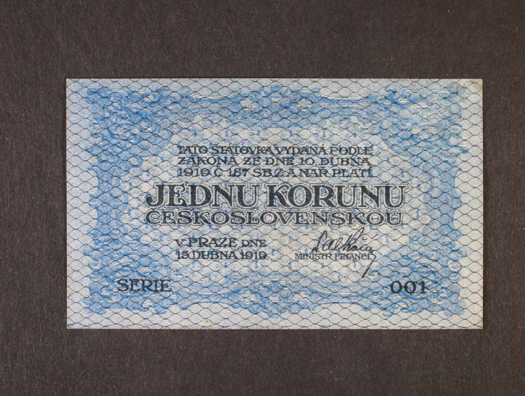 1 Kč 15.4.1919 série 001, modrá, Ba. 7, Pi. 6a